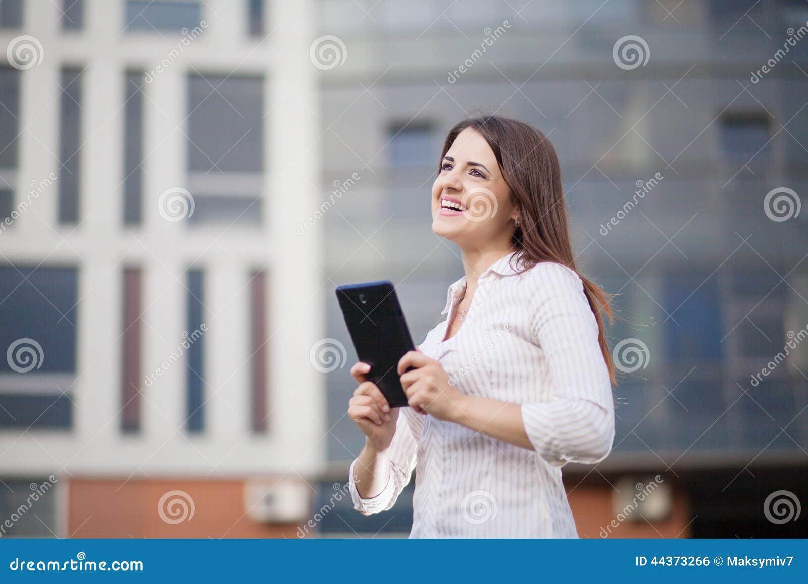 Donna felice di affari