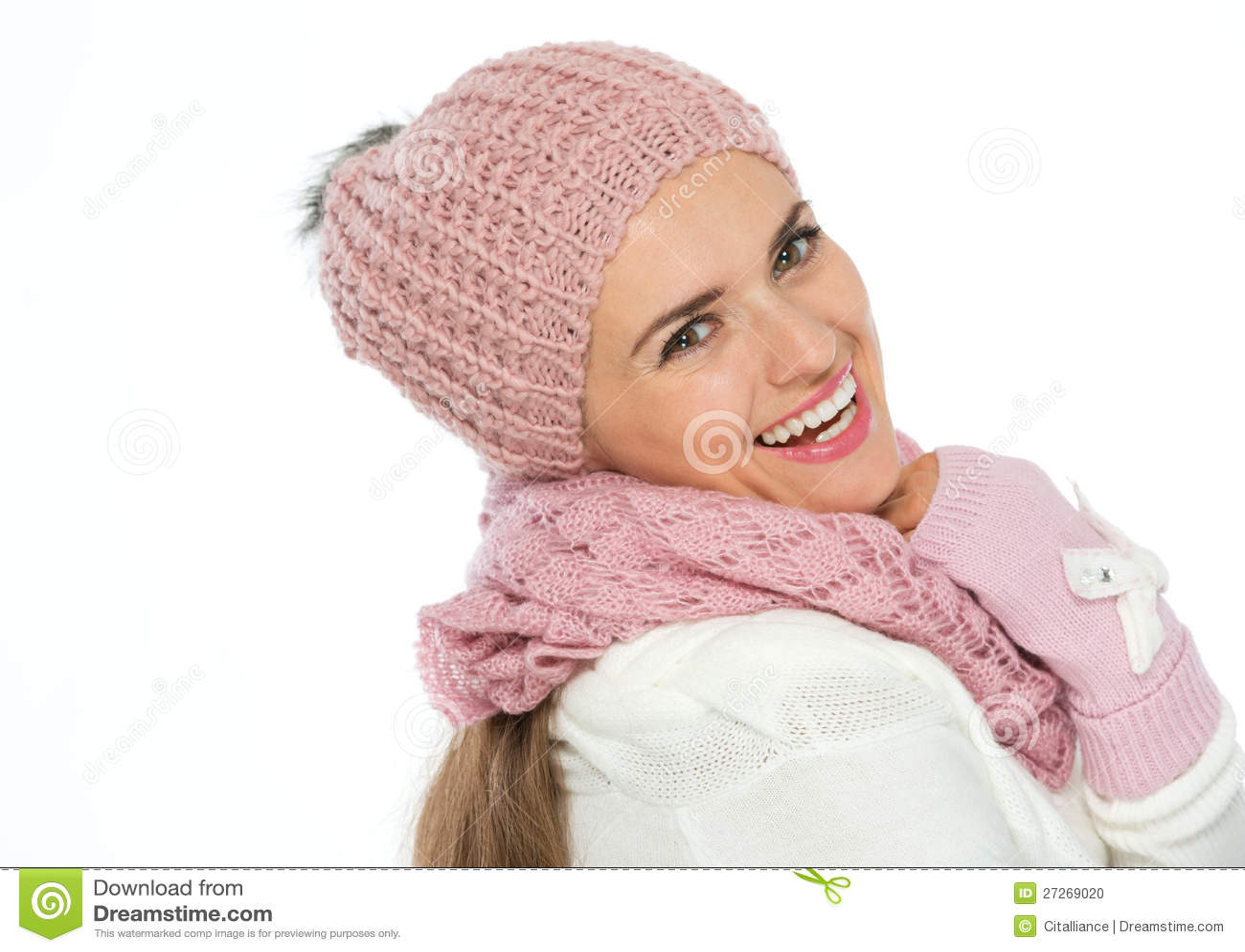 Preferenza Donna Felice In Sciarpa, Cappello E Guanti Del Knit Fotografia  JS35
