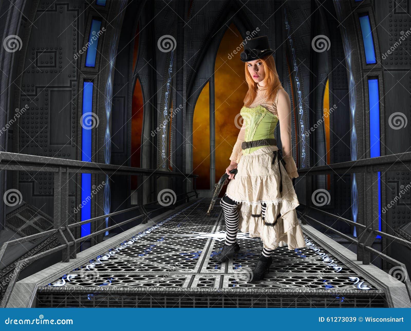 Donna graziosa di Steampunk, fondo industriale