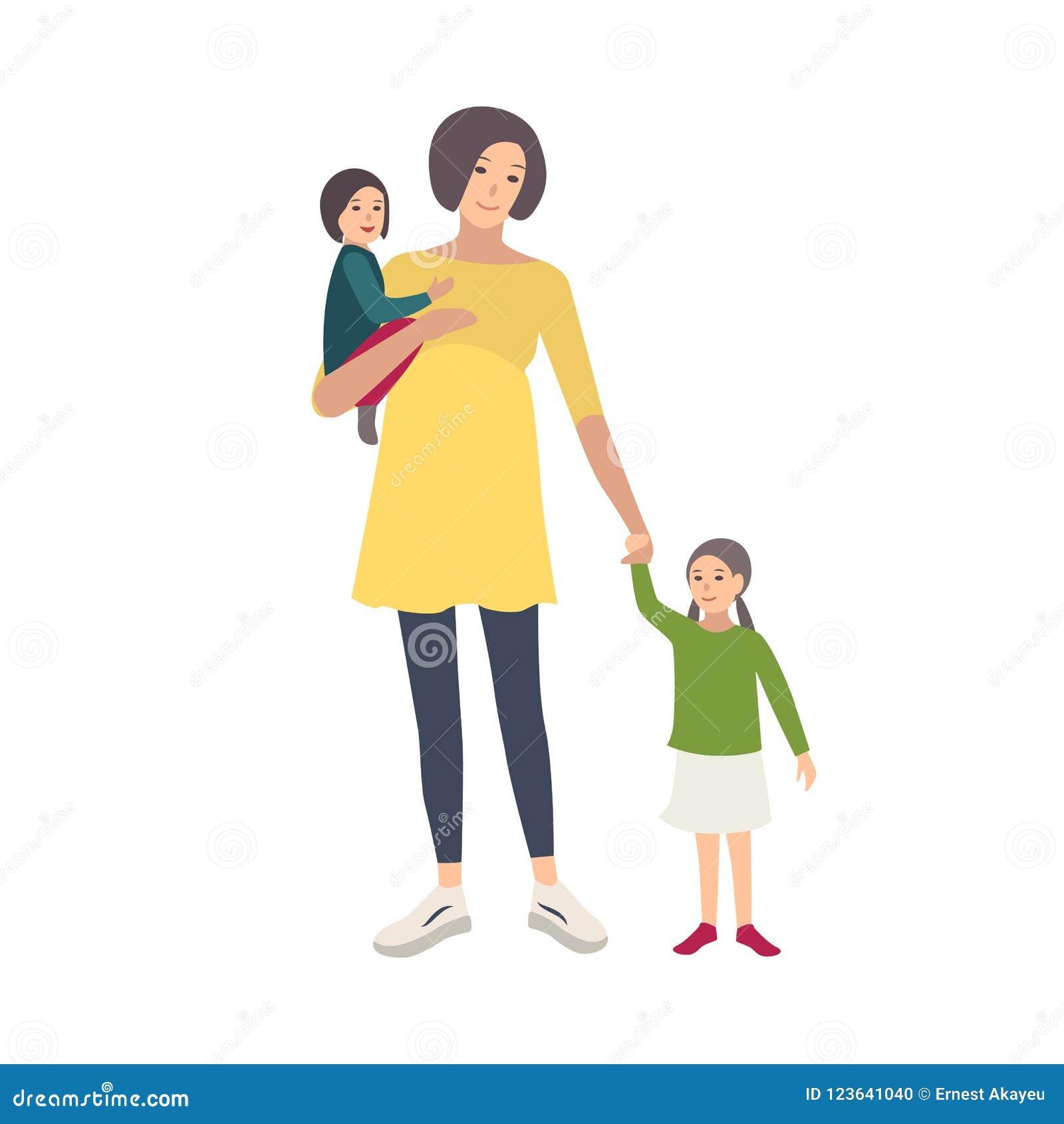 Donna incinta sorridente che cammina con le sue figlie isolate su fondo bianco Personaggio dei cartoni animati adorabile della fe