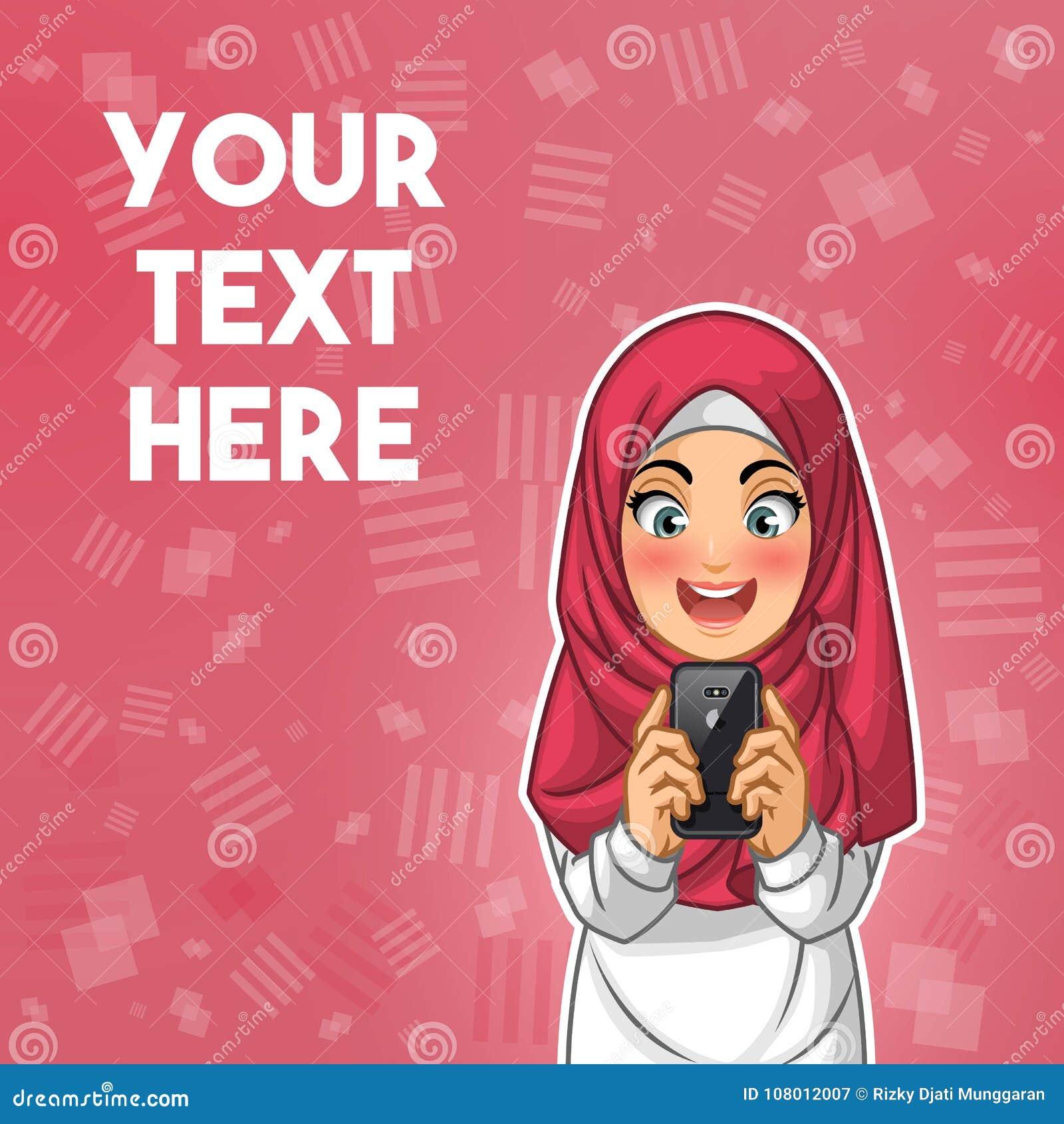 Donna musulmana felice mentre guardando la sua illustrazione di vettore dello smartphone