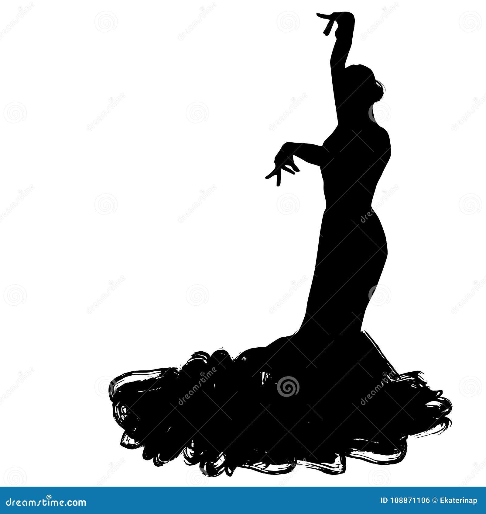 Donna nel soggiorno lungo del vestito nella posa di dancing regioni di Spanish del ballerino di flamenco di Andalusia, Estremadur