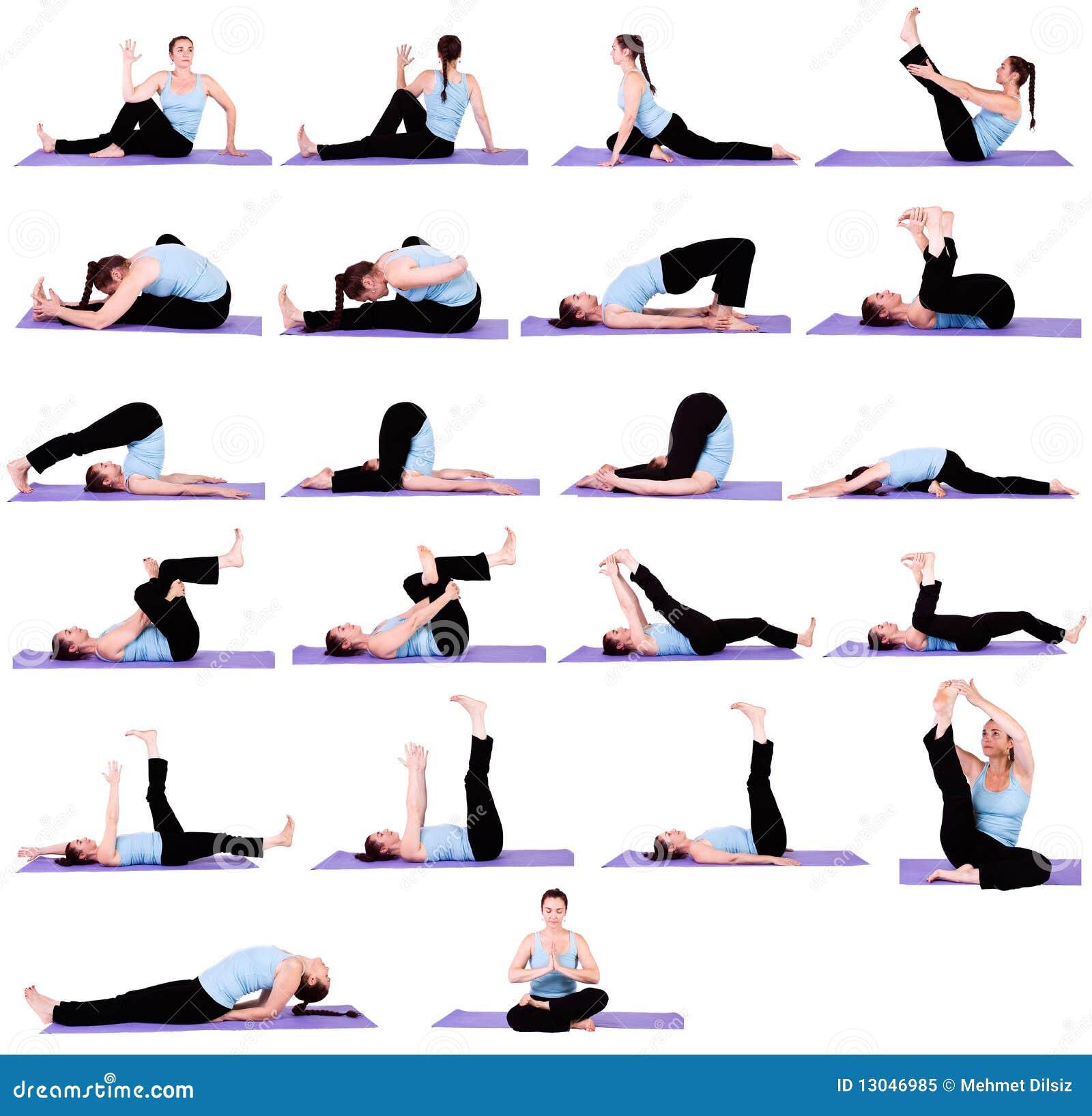 Donna nelle posizioni di yoga