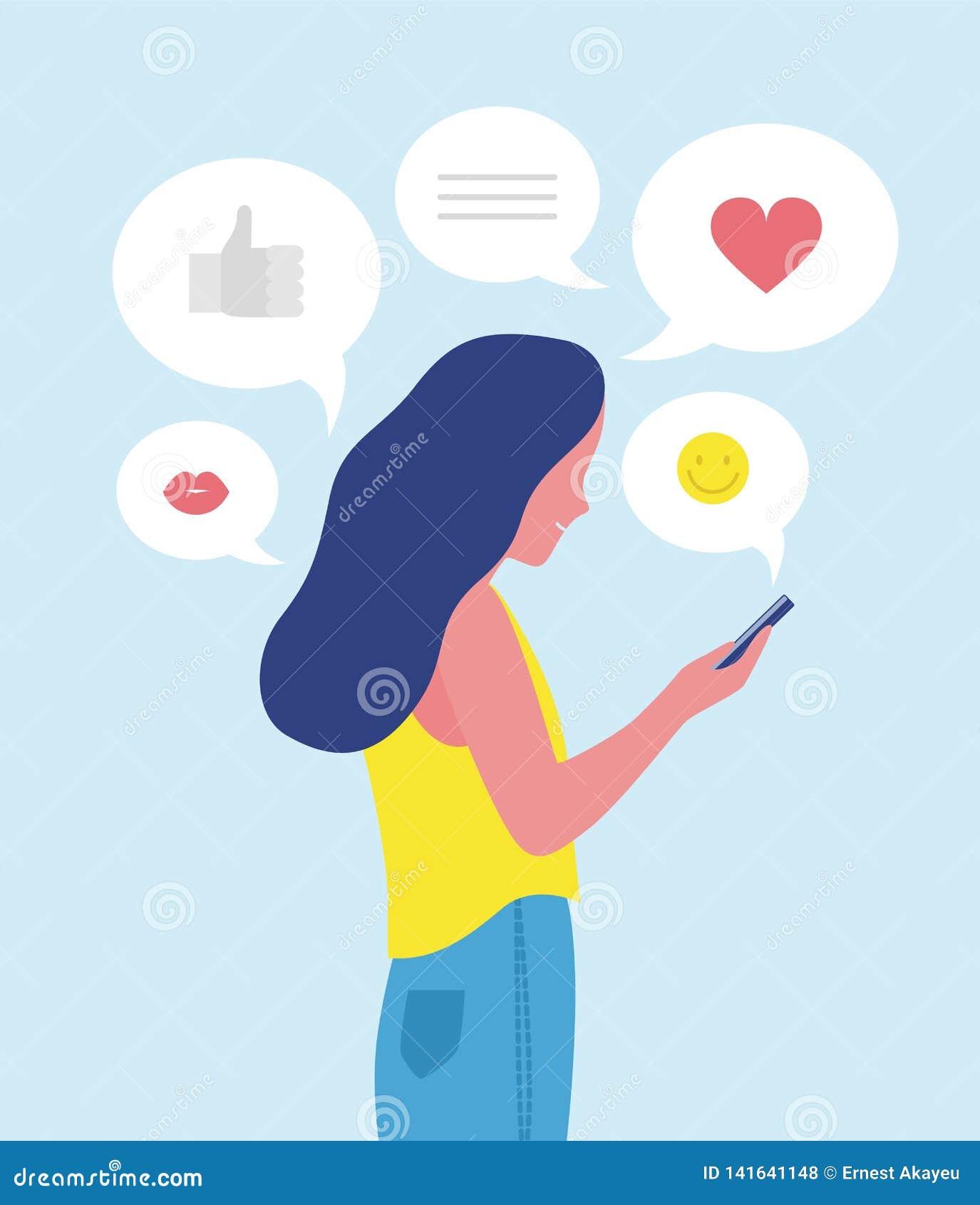 Donna o ragazza che invia e che riceve i messaggi di Internet sullo smartphone o che manda un sms sul telefono cellulare Comunica