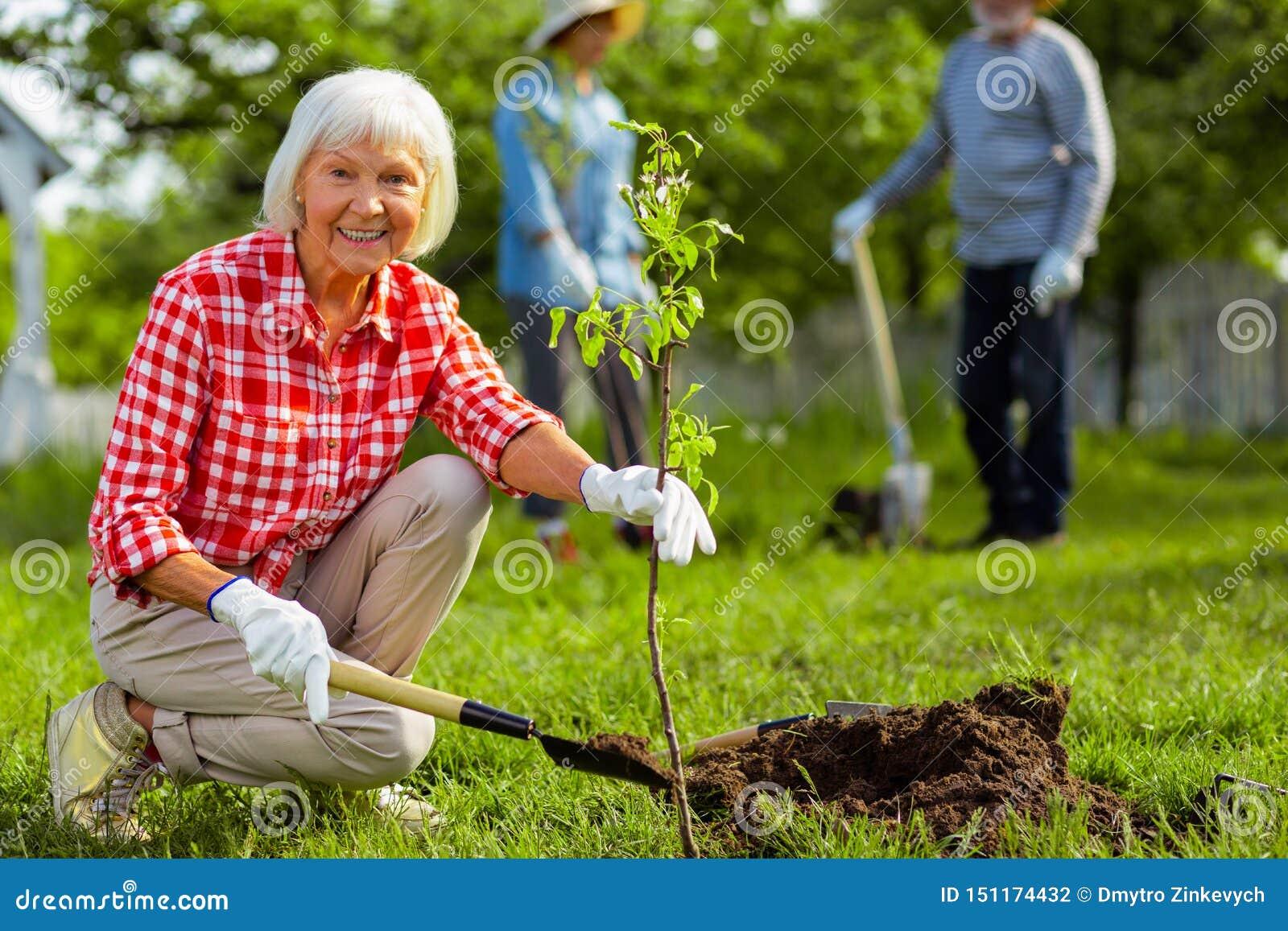 Donna pensionata adorabile che sorride mentre piantando albero vicino agli amici