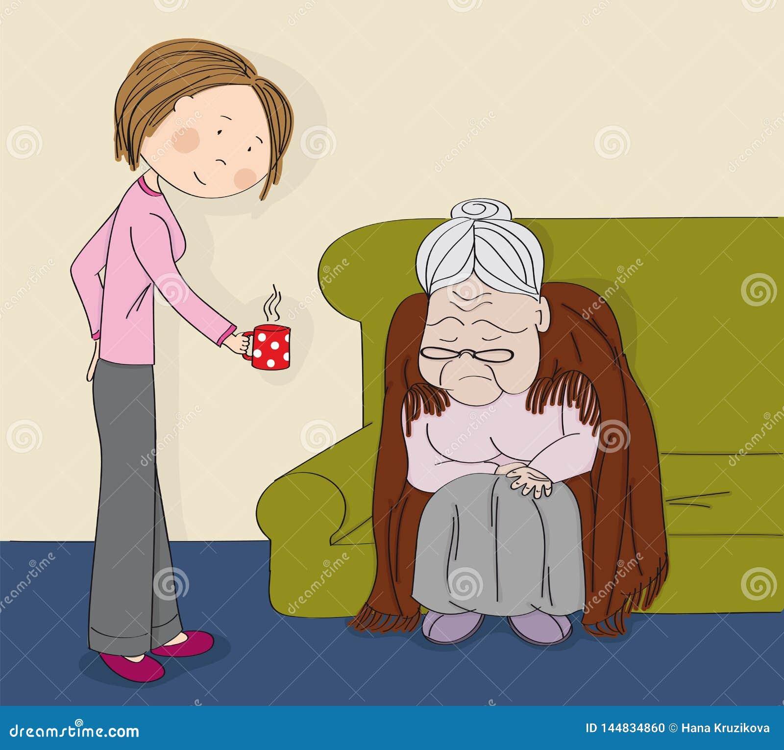 Donna senior grigio-dai capelli molto anziana, nonna, sedendosi sul sof?, addormentato Giovane personale sanitario allegro dell i