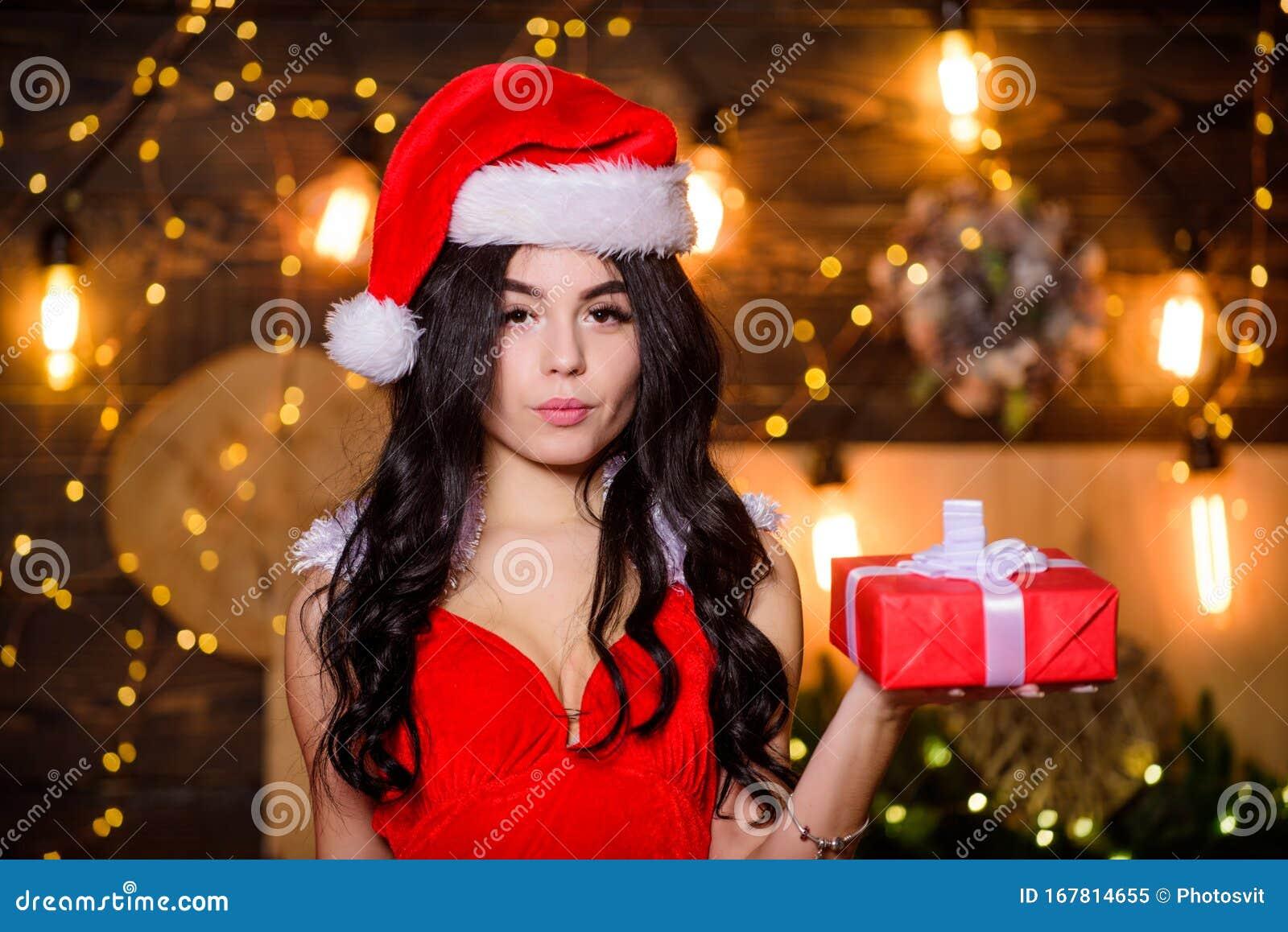 Donna Sexy Con Cappello A Santa Ragazza Sensuale In ...