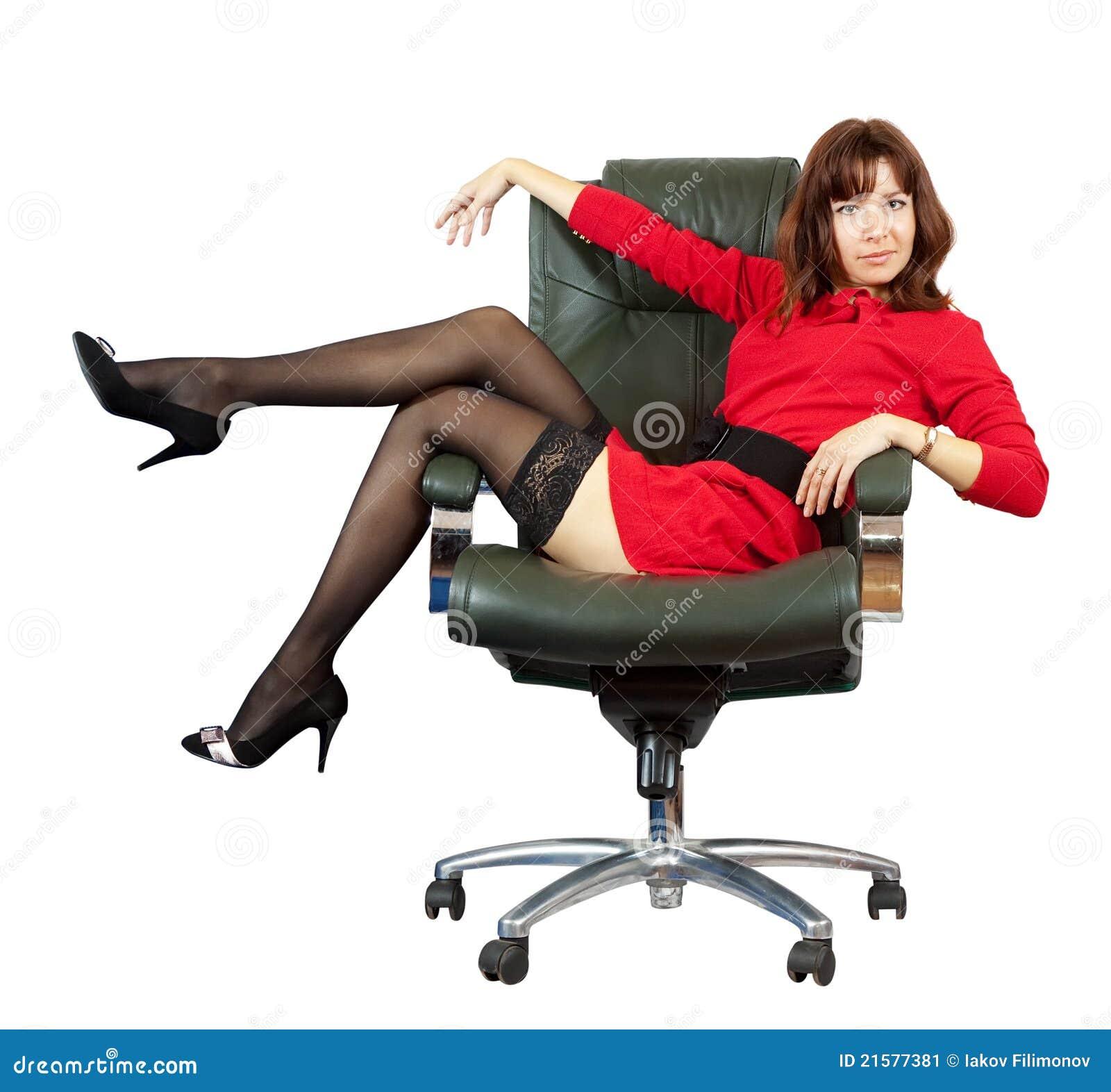 Donna sexy sulla poltrona dell 39 ufficio immagine stock for Poltrona ufficio
