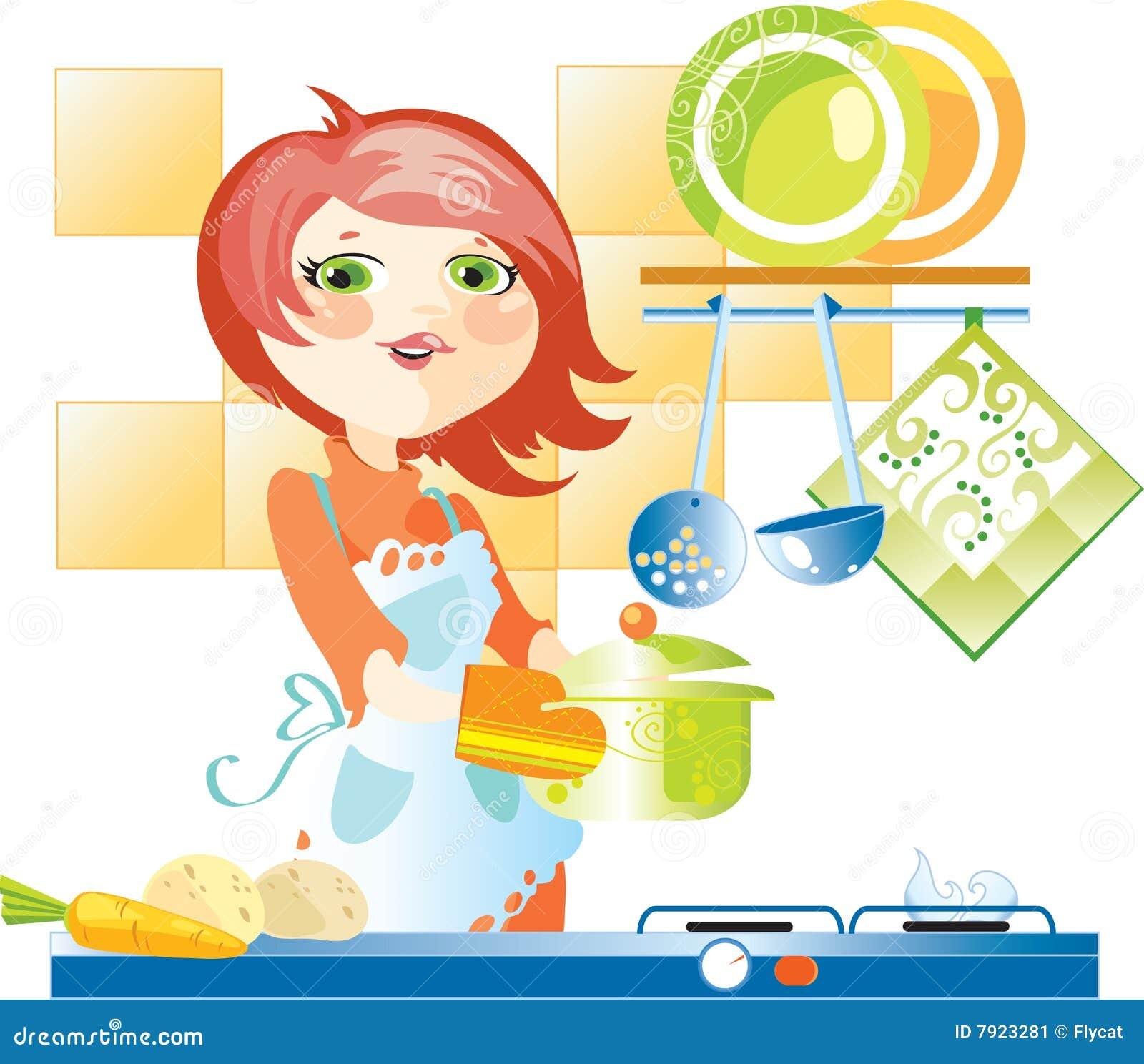 Donna sulla cucina