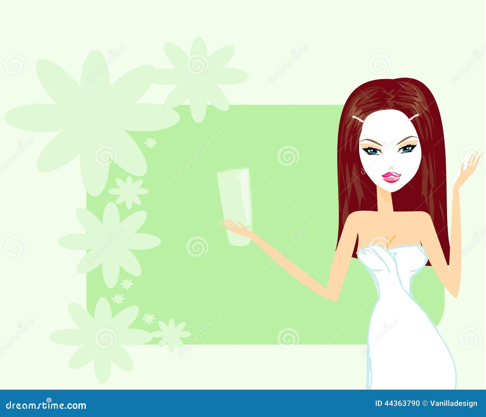 Donna sveglia che applica moisturizer