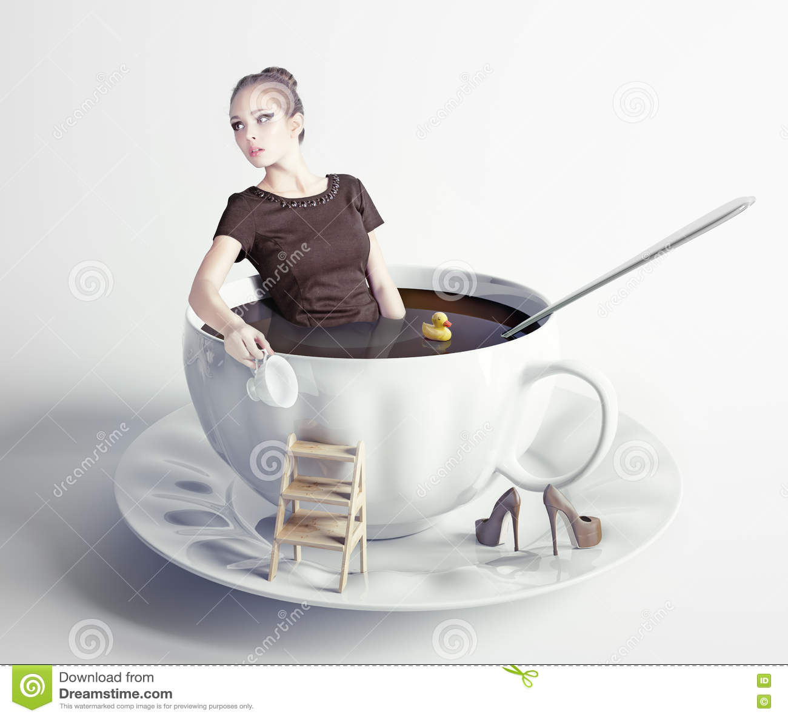 Donna in tazza di caff fotografia stock immagine 35557552 for Tazza bagno
