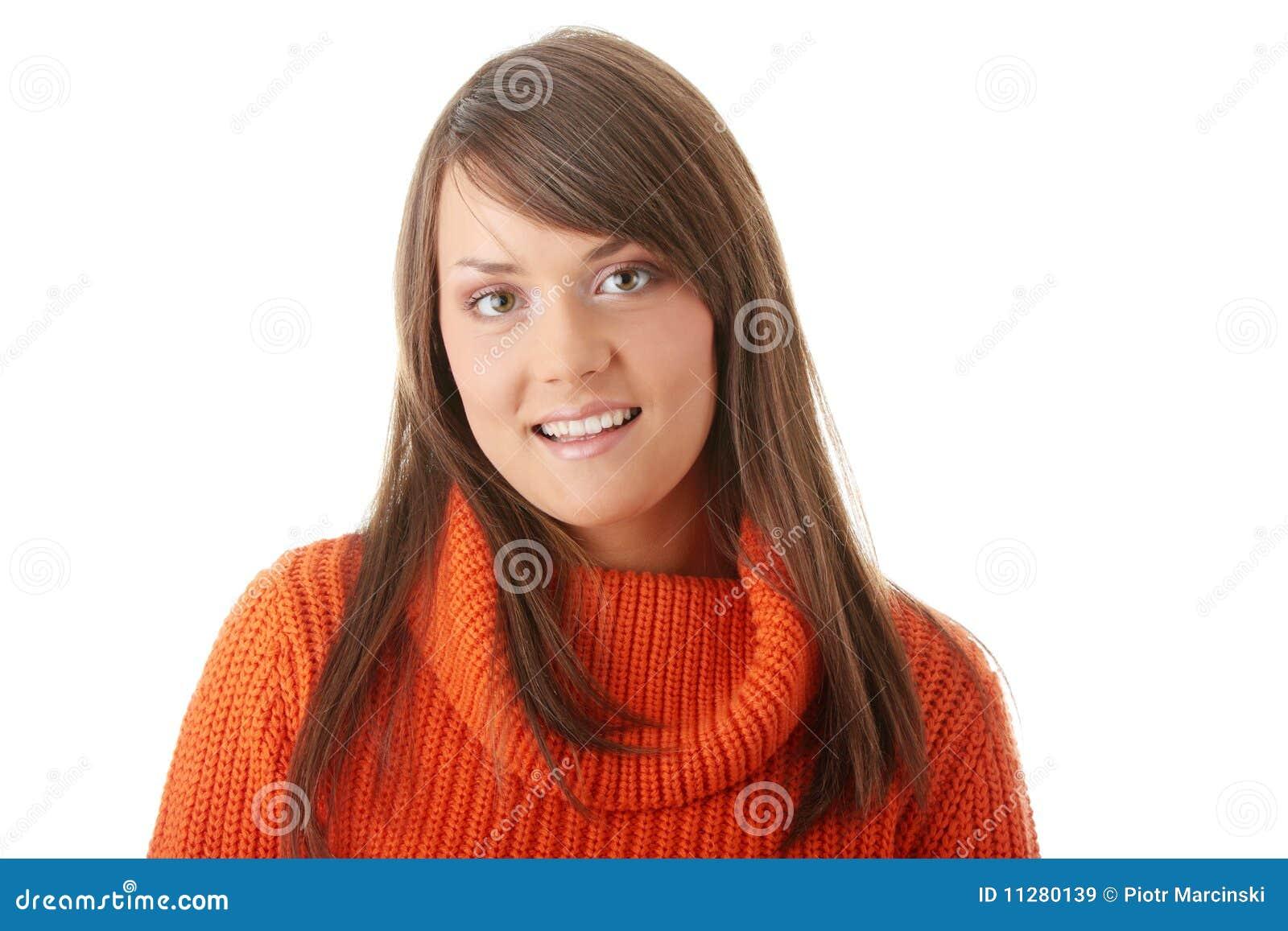 maglione arancione donna