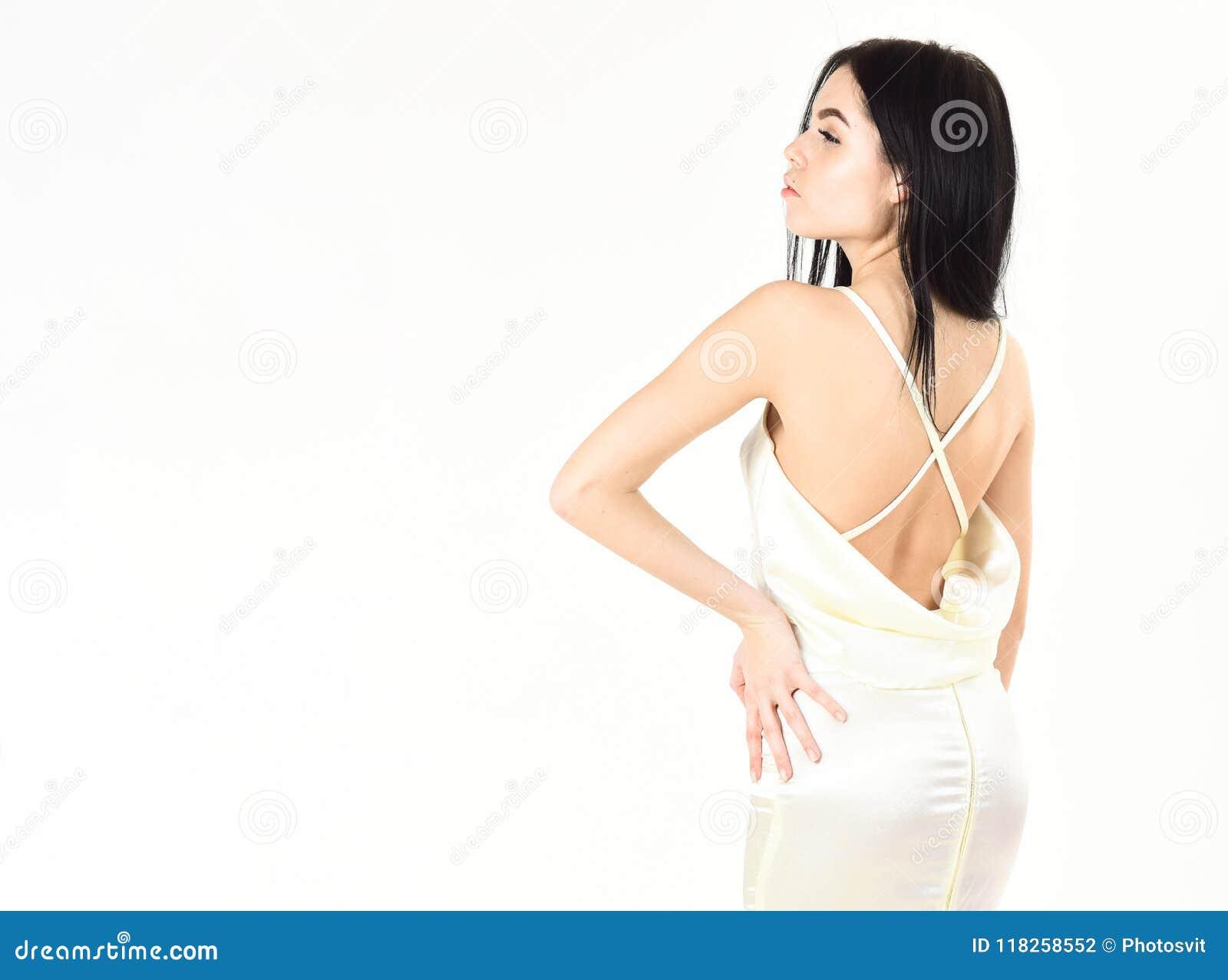 low priced c369d 8736e Donna In Vestito Bianco Elegante Con Nudo Posteriore, Fondo ...
