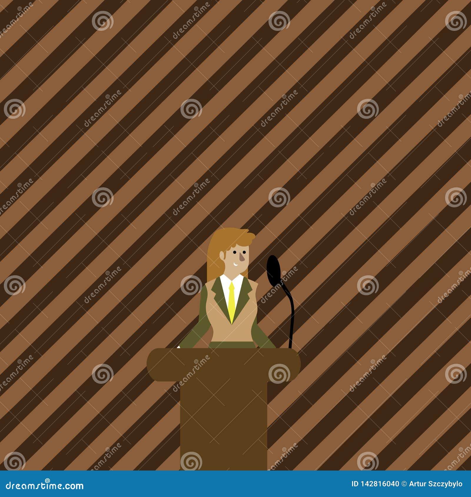Donna in vestito che sta dietro la foto variopinta del rostro del podio e che parla sul microfono senza fili Donna di affari