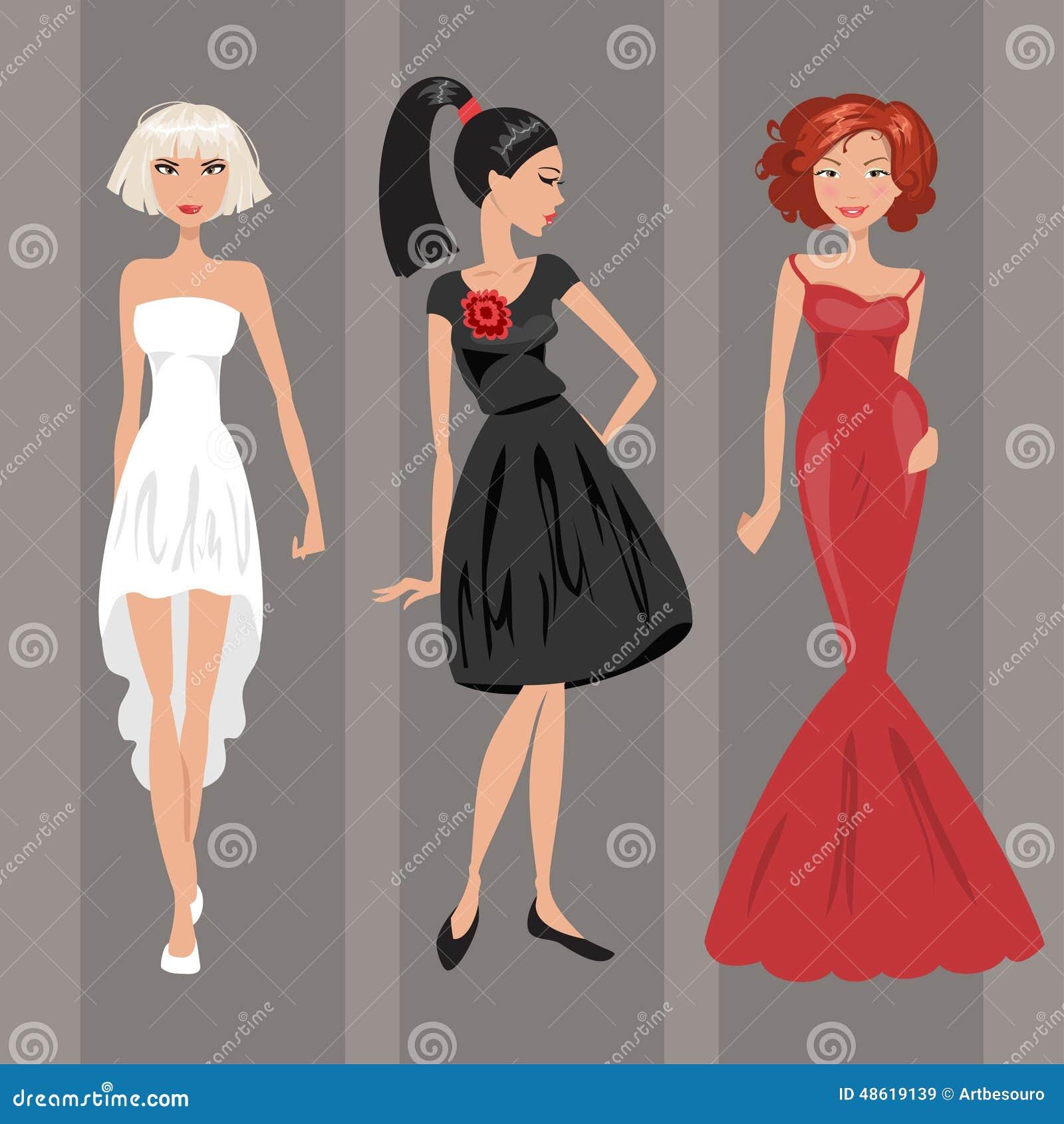 c6982667919b Donna In Vestito Da Sera Illustrazione Di Vettore Illustrazione ...