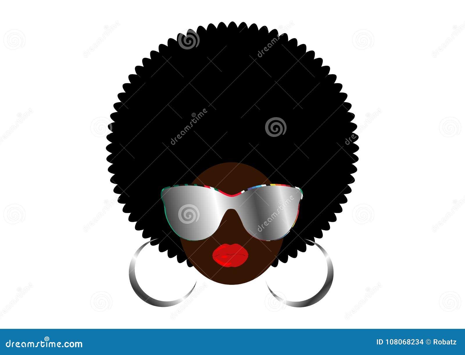 Donne africane del ritratto, fronte femminile della pelle scura con l afro dei capelli e vetri del metallo in capelli ricci etnic