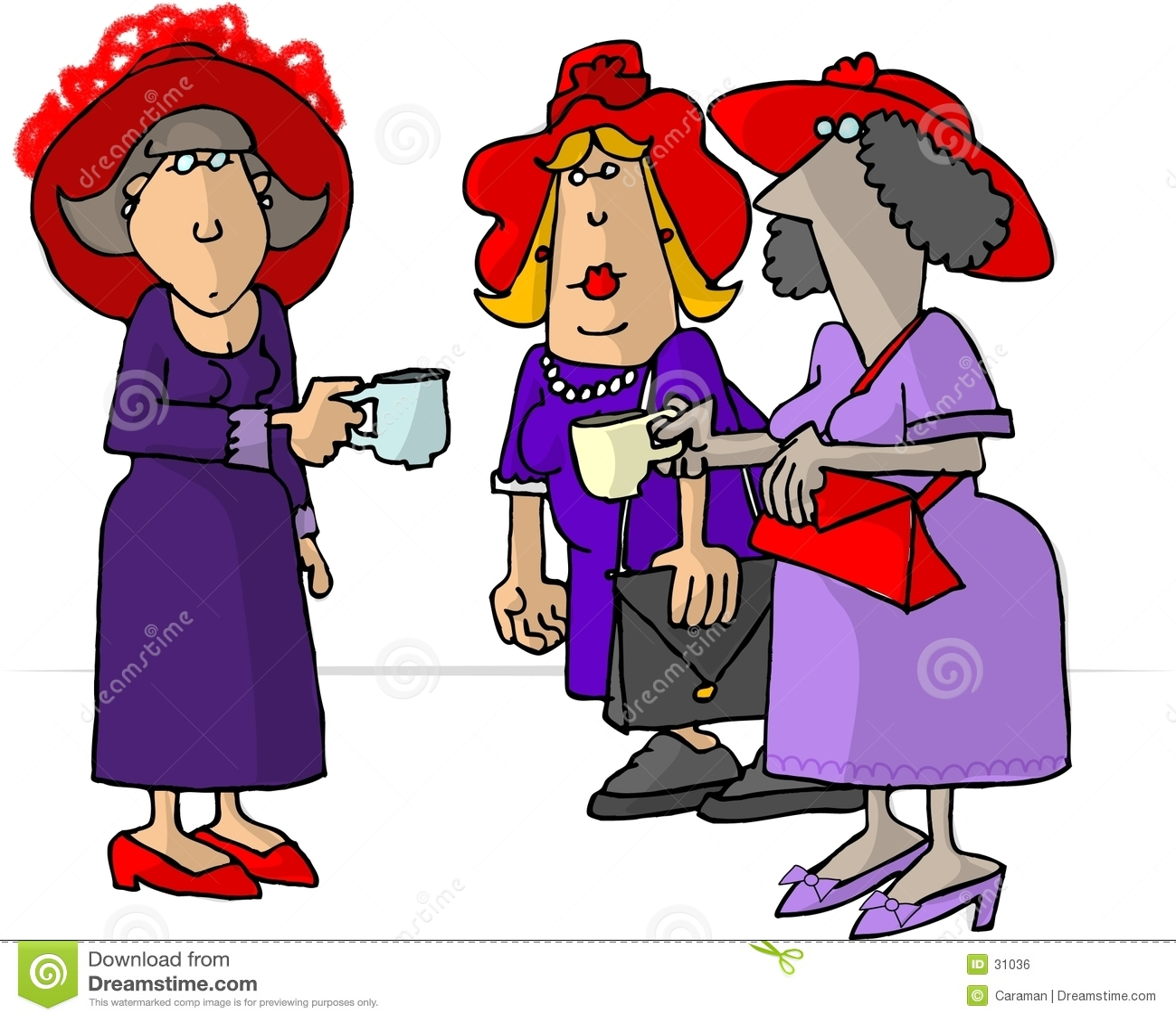 Donne in cappelli rossi che bevono tè