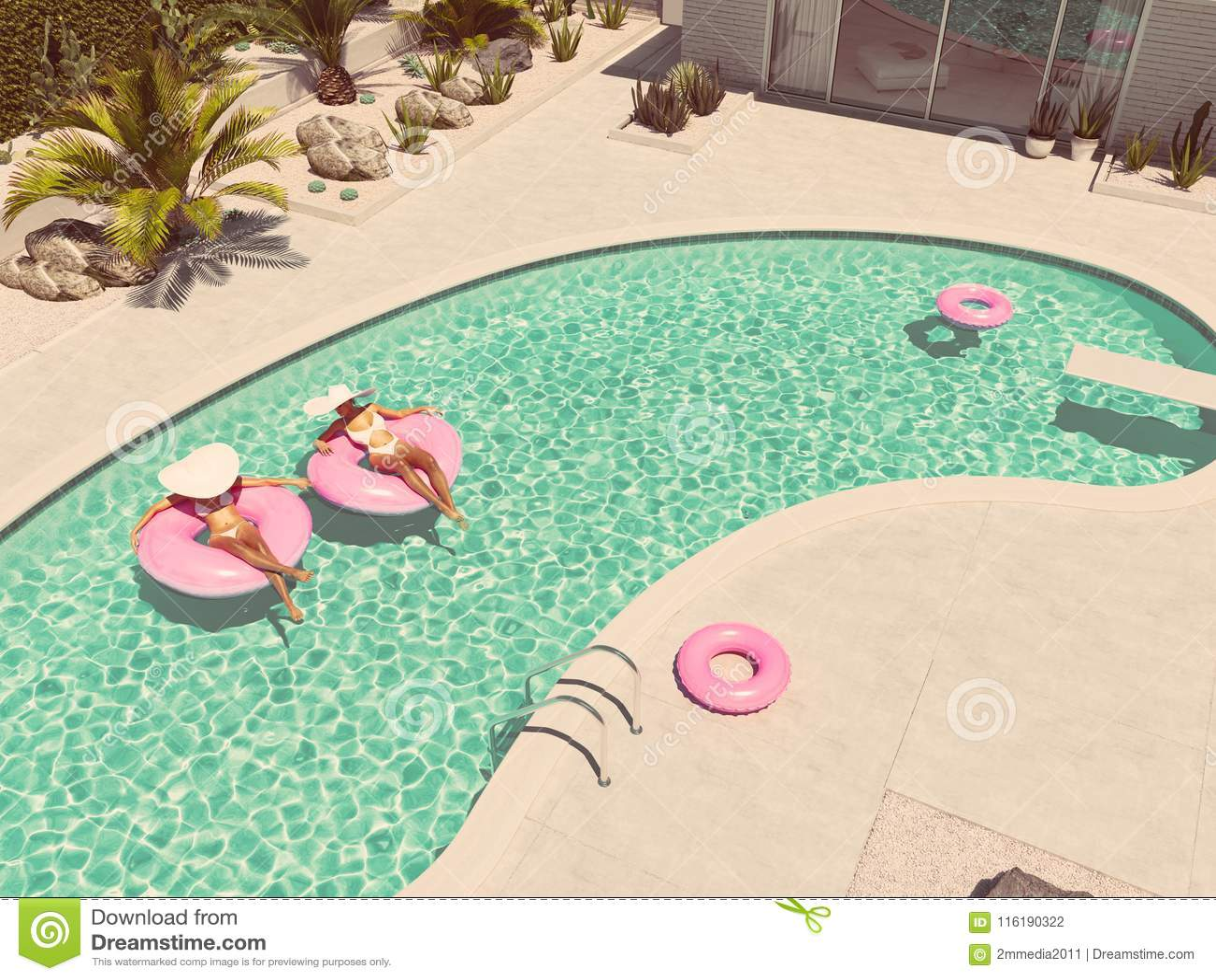 Donne che nuotano sul galleggiante in uno stagno rappresentazione 3d
