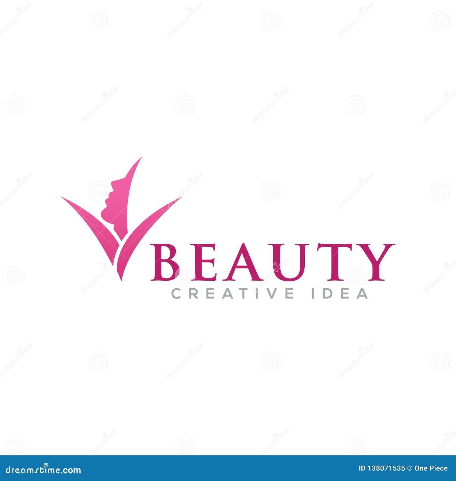 Donne di bellezza con il modello di logo della natura della foglia