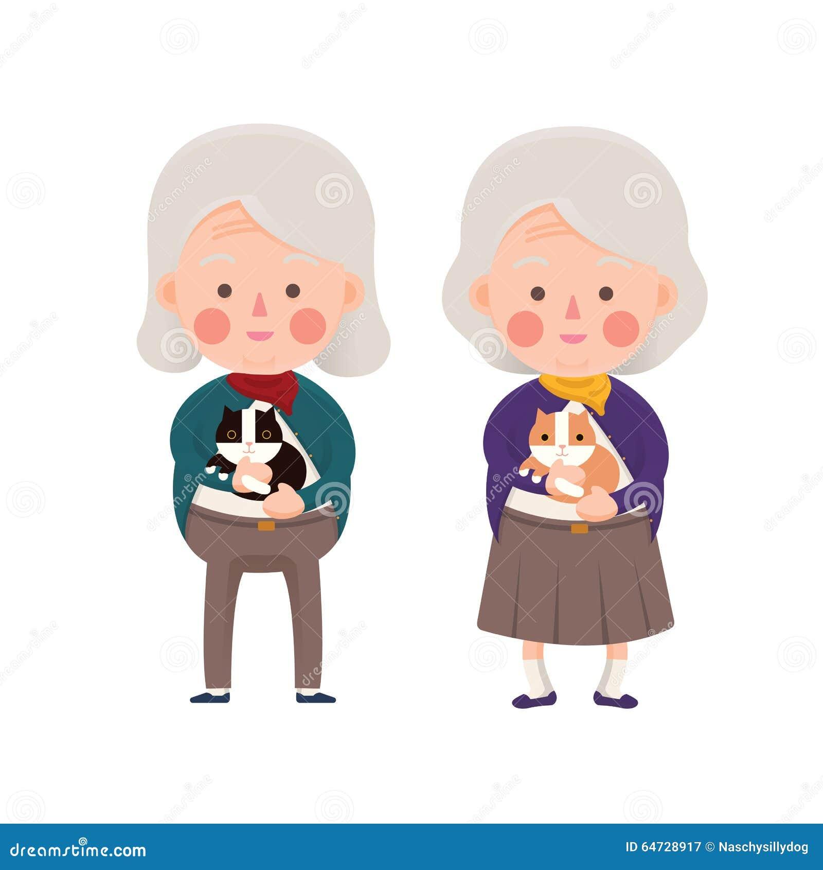 Donne senior che tengono gatto, personaggio dei cartoni animati