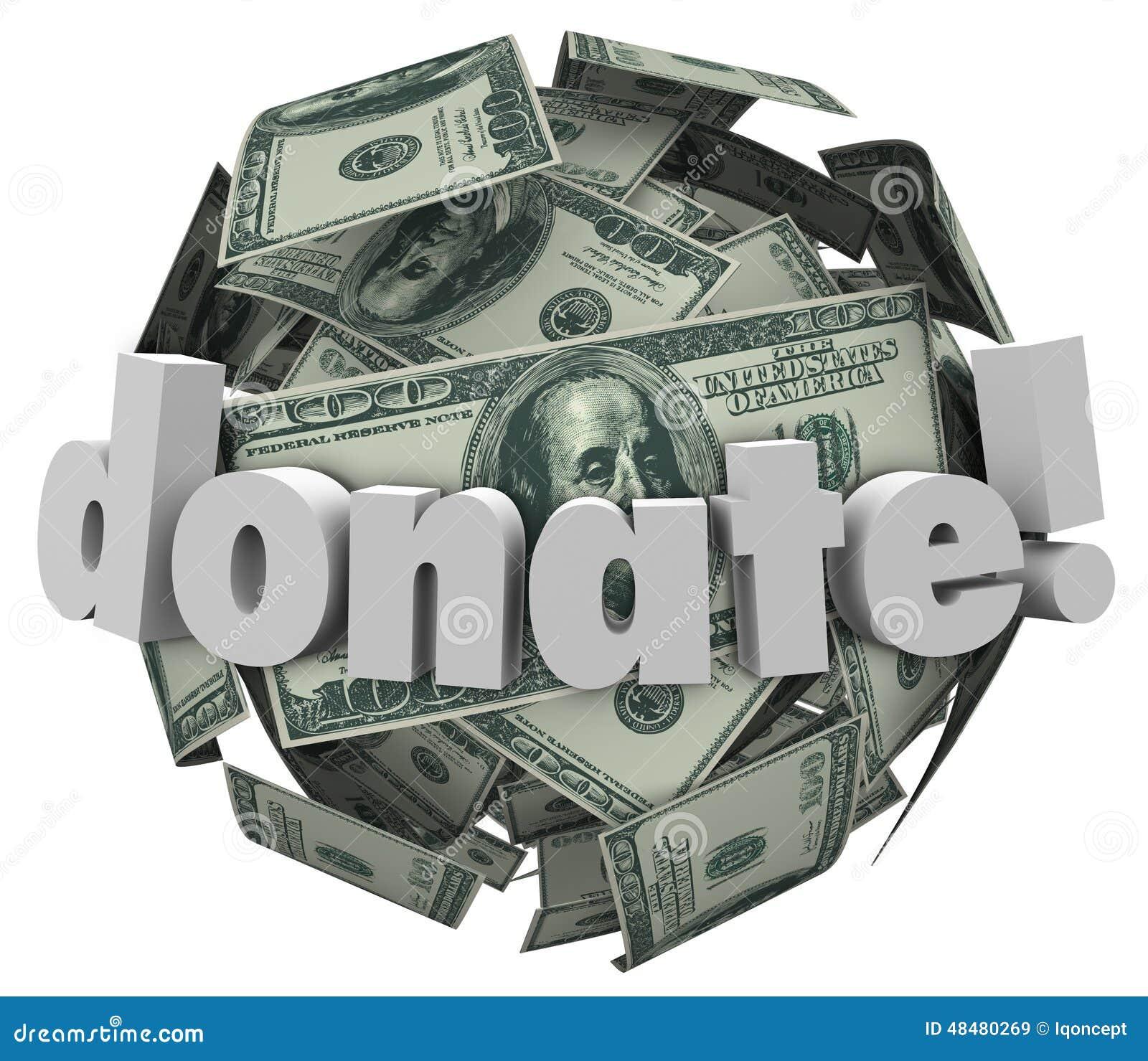 Donnez la boule de sphère d argent liquide d argent donnent à aide de donation de part d autres