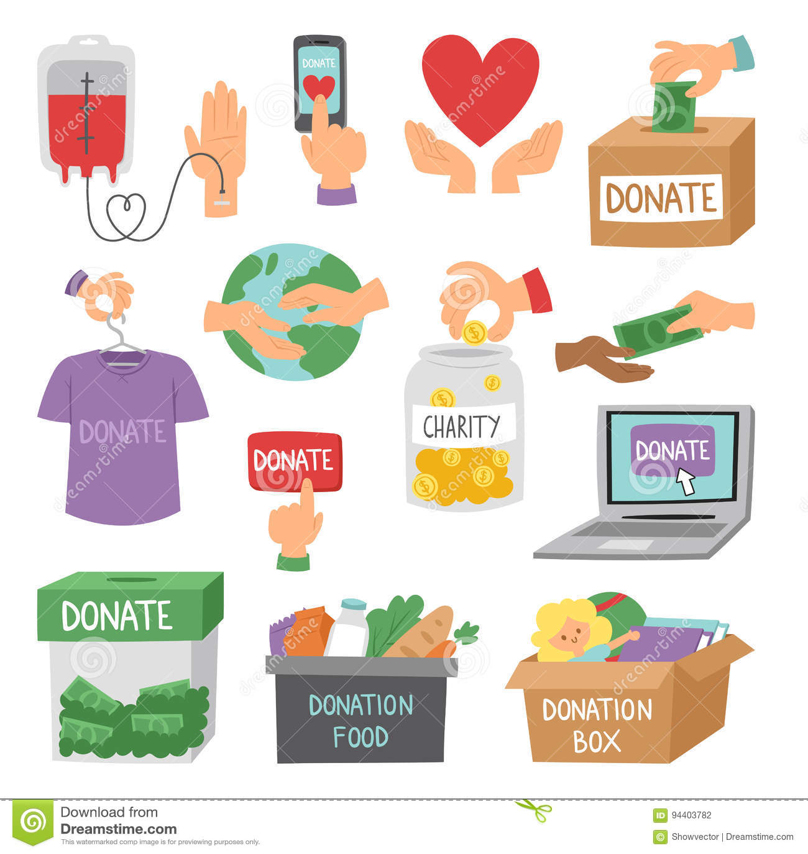 Donnez le vecteur réglé de soutien d humanité de symboles de philanthropie de charité de contribution de donation de symboles d a