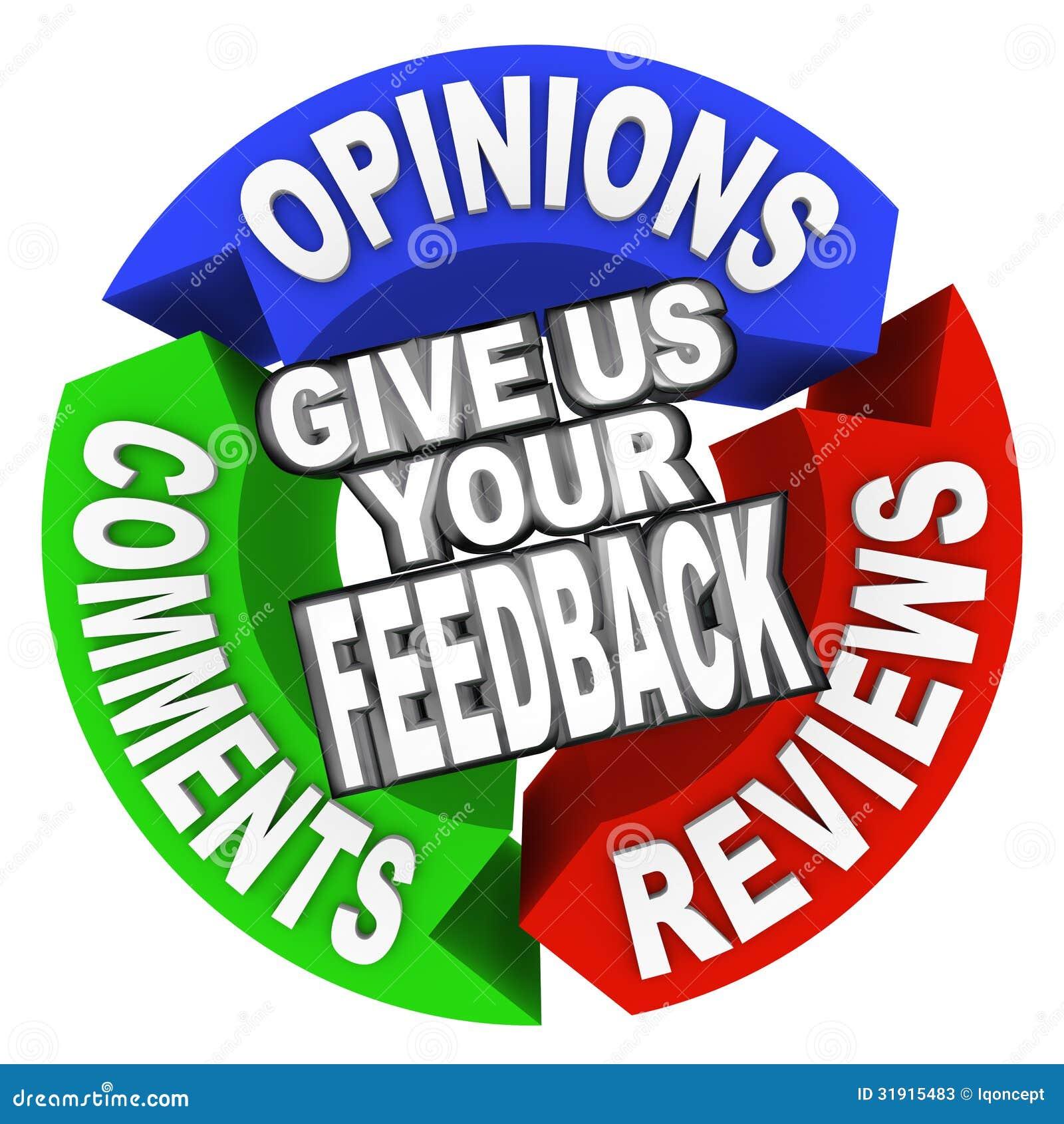 Donnez-nous vos mots de flèche de rétroaction des commentaires des avis des commentaires