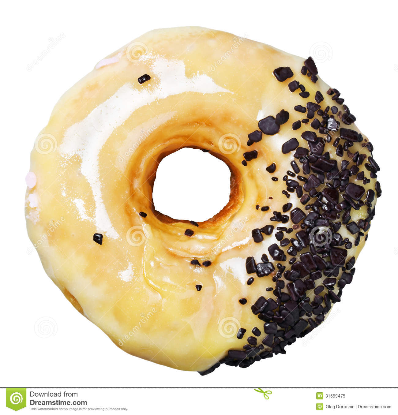Donut with caramel and chocolate chips isolated on white background.