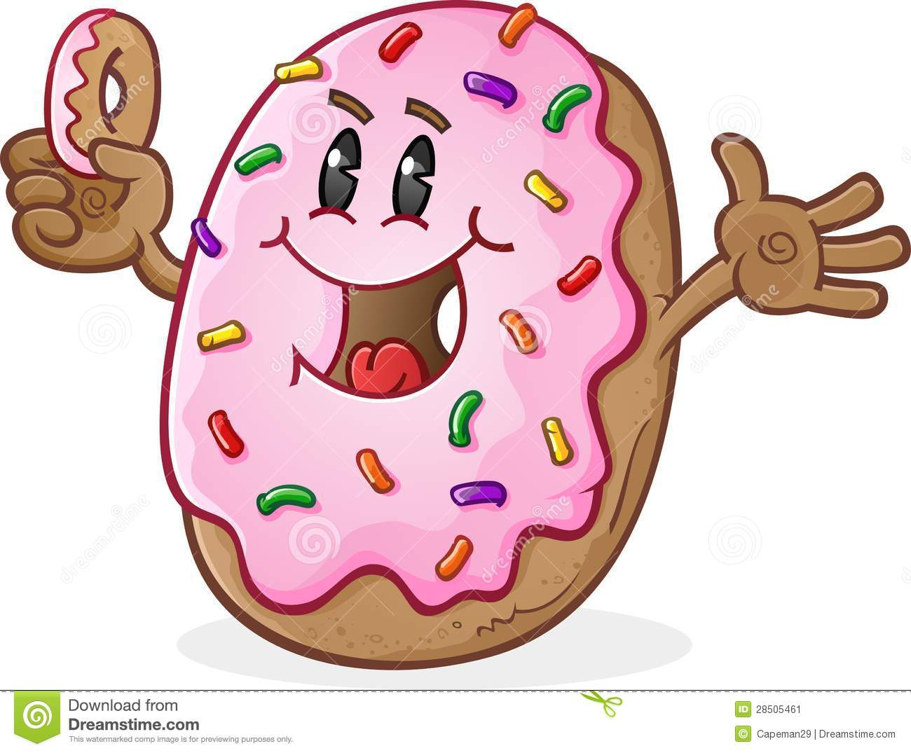 Frosted Donut Cartoon Character With Sprinkles Stock ...
