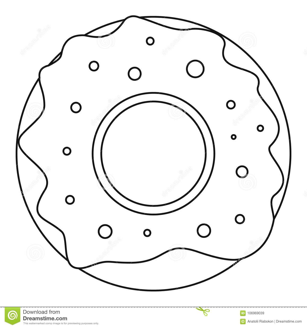 Donut icon, outline style. stock vector. Illustration of ...