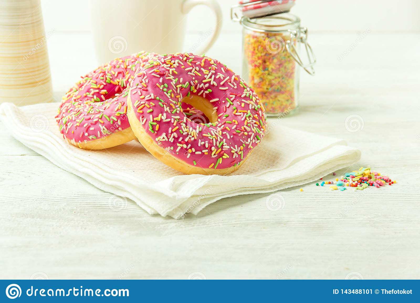 Donut On A Kitchen Towel And On A Wooden Table Photo Of Sweets With Copyspace Stock Image Image Of Food Confectionery 143488101