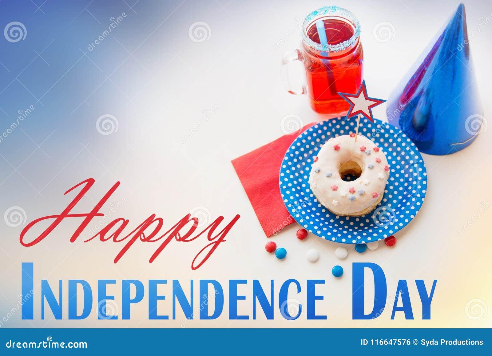 Donut mit Saft und Süßigkeiten am Unabhängigkeitstag