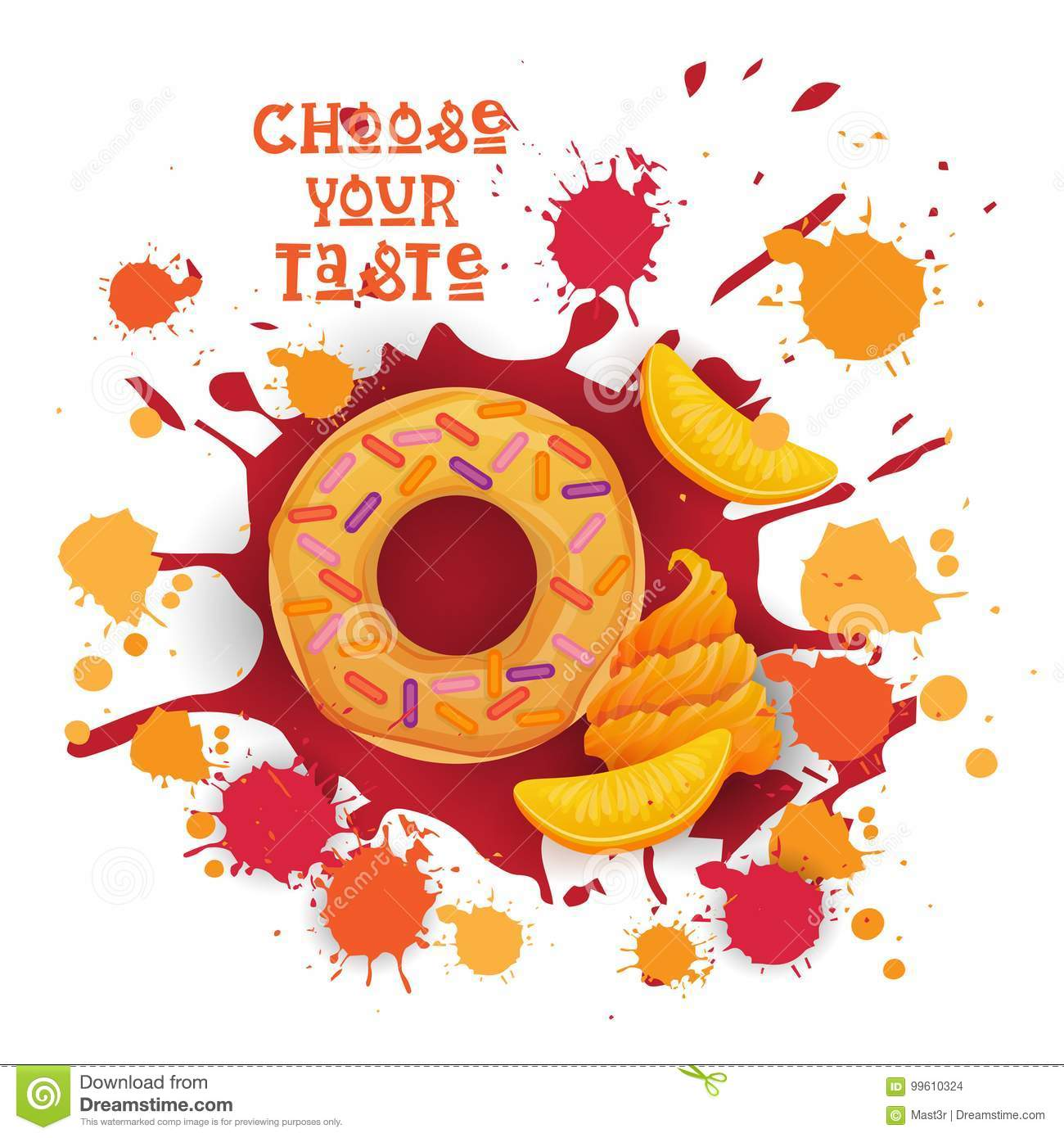 Donut Peach Colorful Dessert Icon Choose Your Taste Cafe Poster
