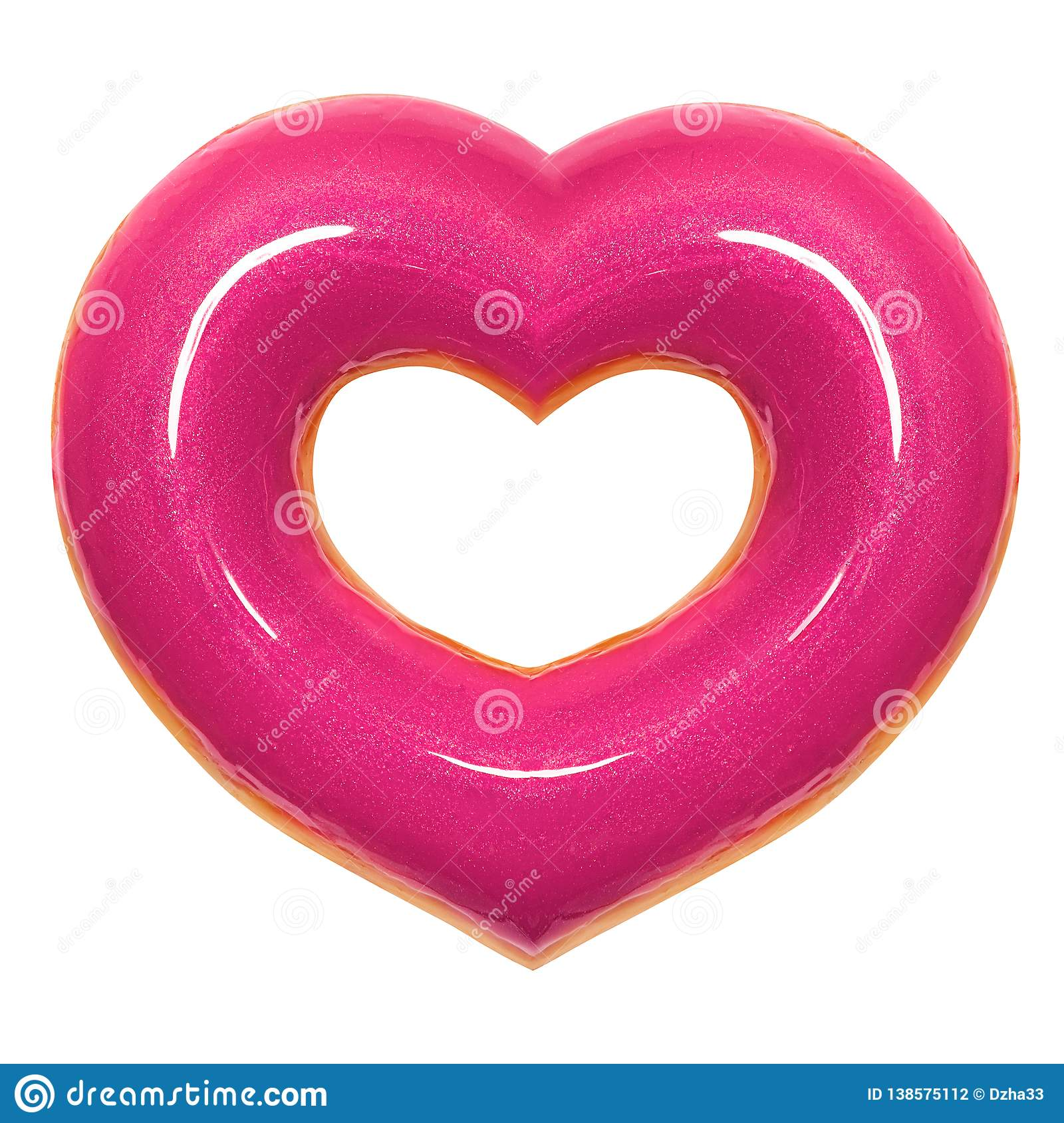 Donut pink heart shape with red glaze front view isolated on white background with clipping path. Donut Valentines day.