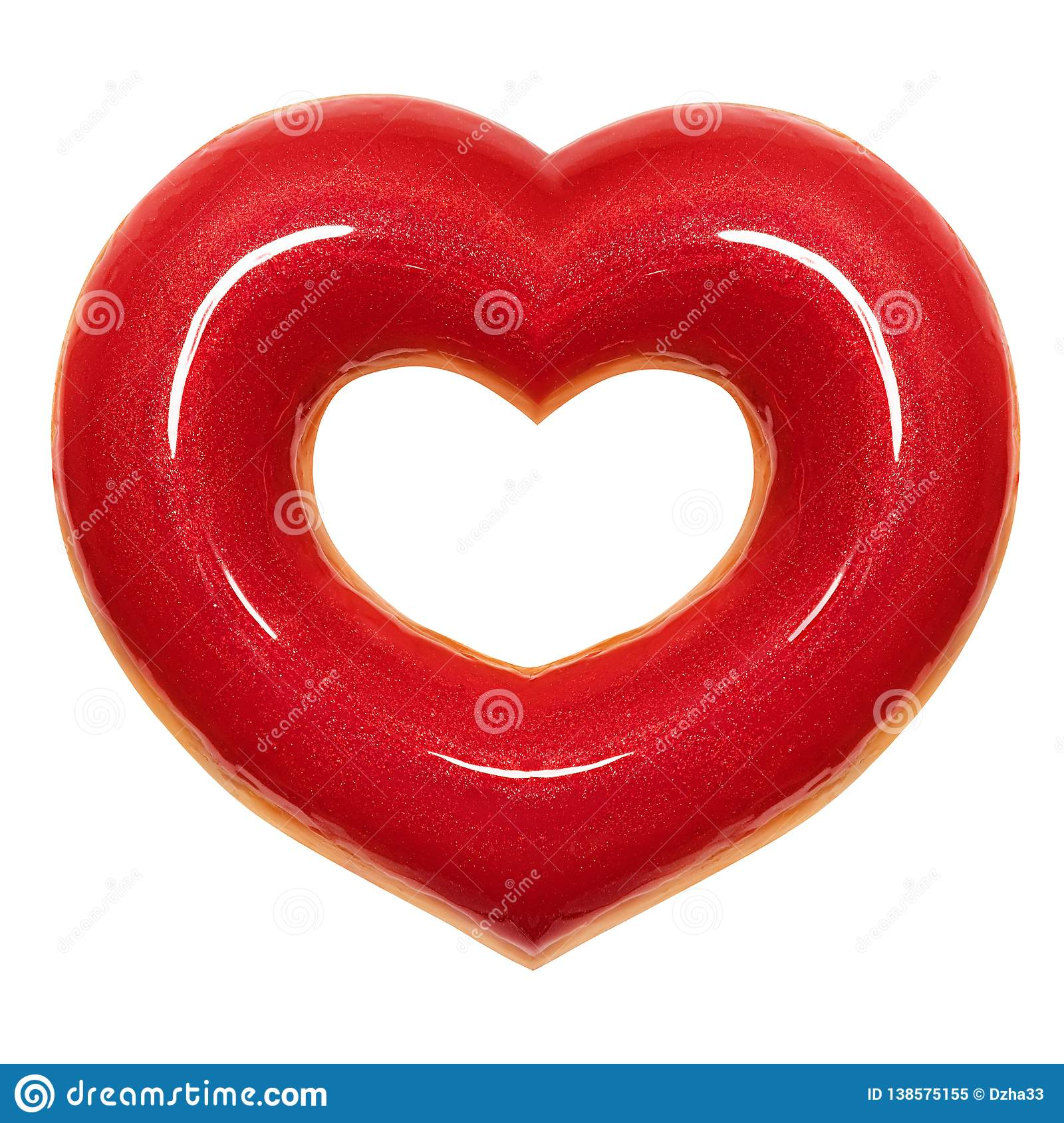 Donut red heart shape with red glaze front view isolated white background with clipping path. Donut Valentines day.