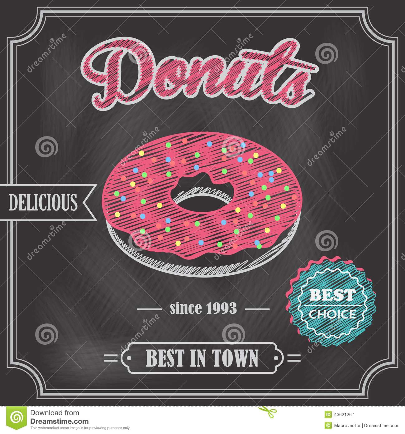 donut retro poster stock vector
