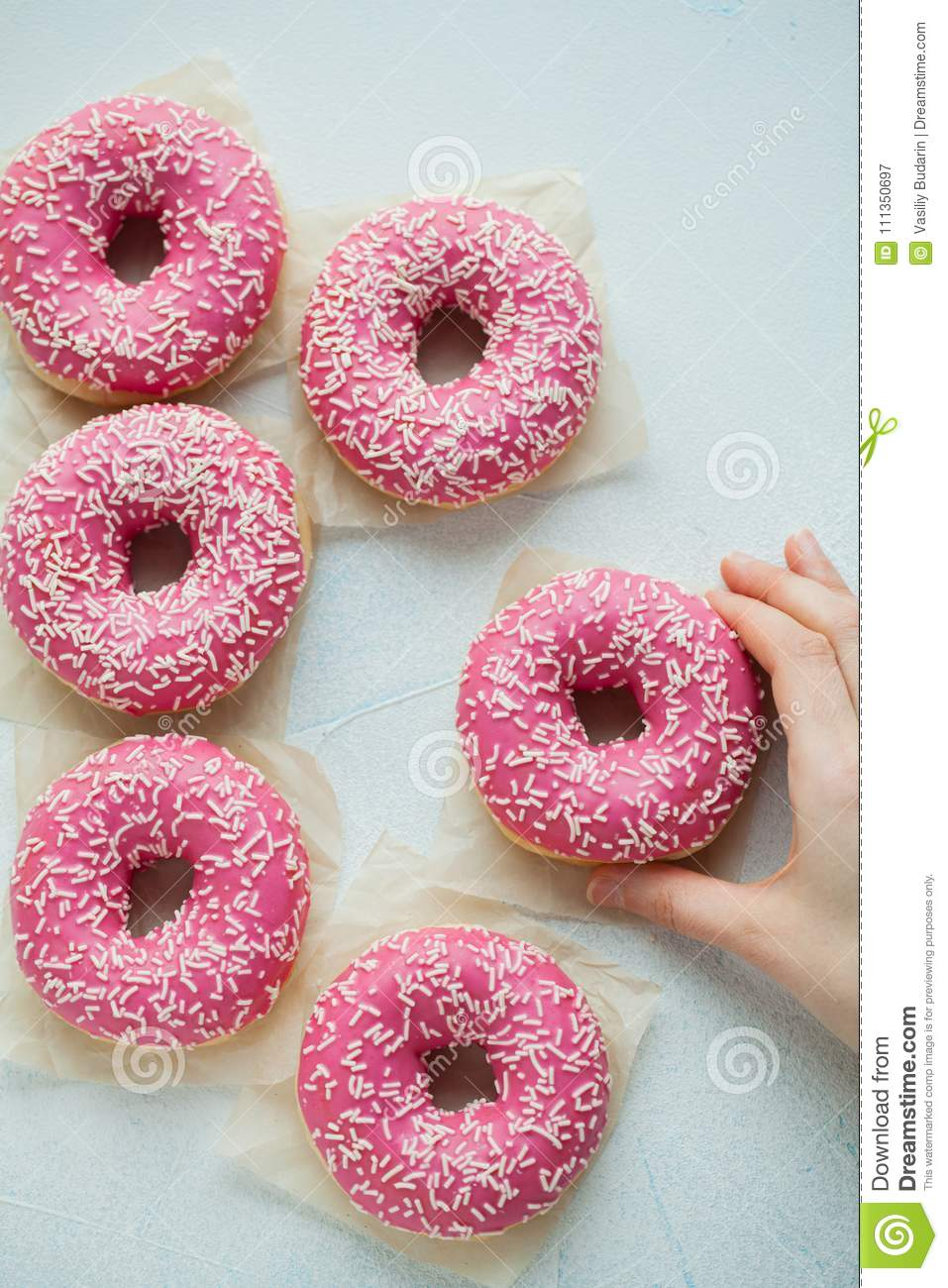 Donut. Sweet icing sugar food. Dessert colorful snack. Glazed sprinkles. Treat from delicious pastry breakfast. Bakery cake. Dough