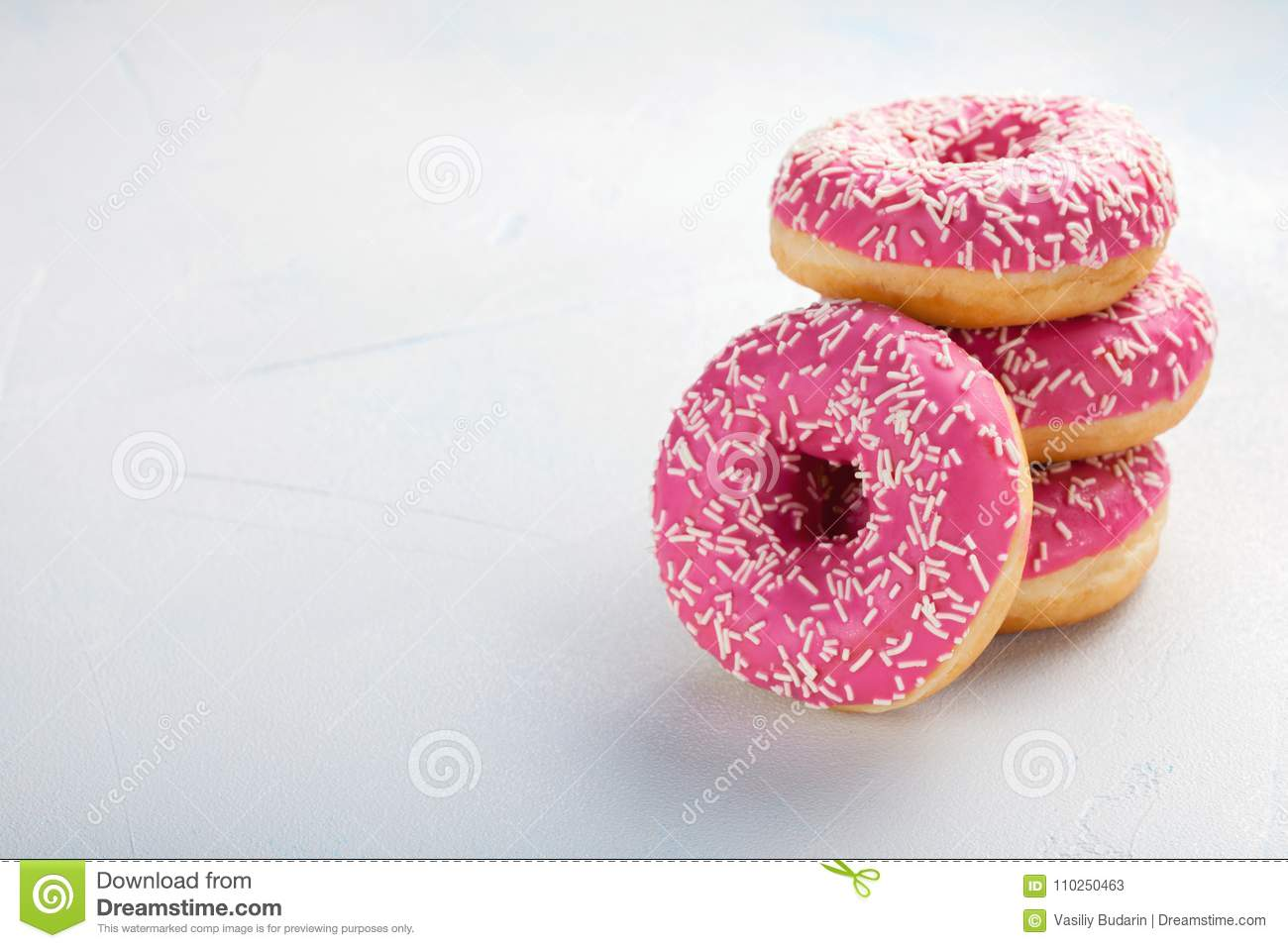 Donut. Sweet icing sugar food. Dessert colorful snack. Treat from delicious pastry breakfast. Bakery cake. Doughnut with frosting.