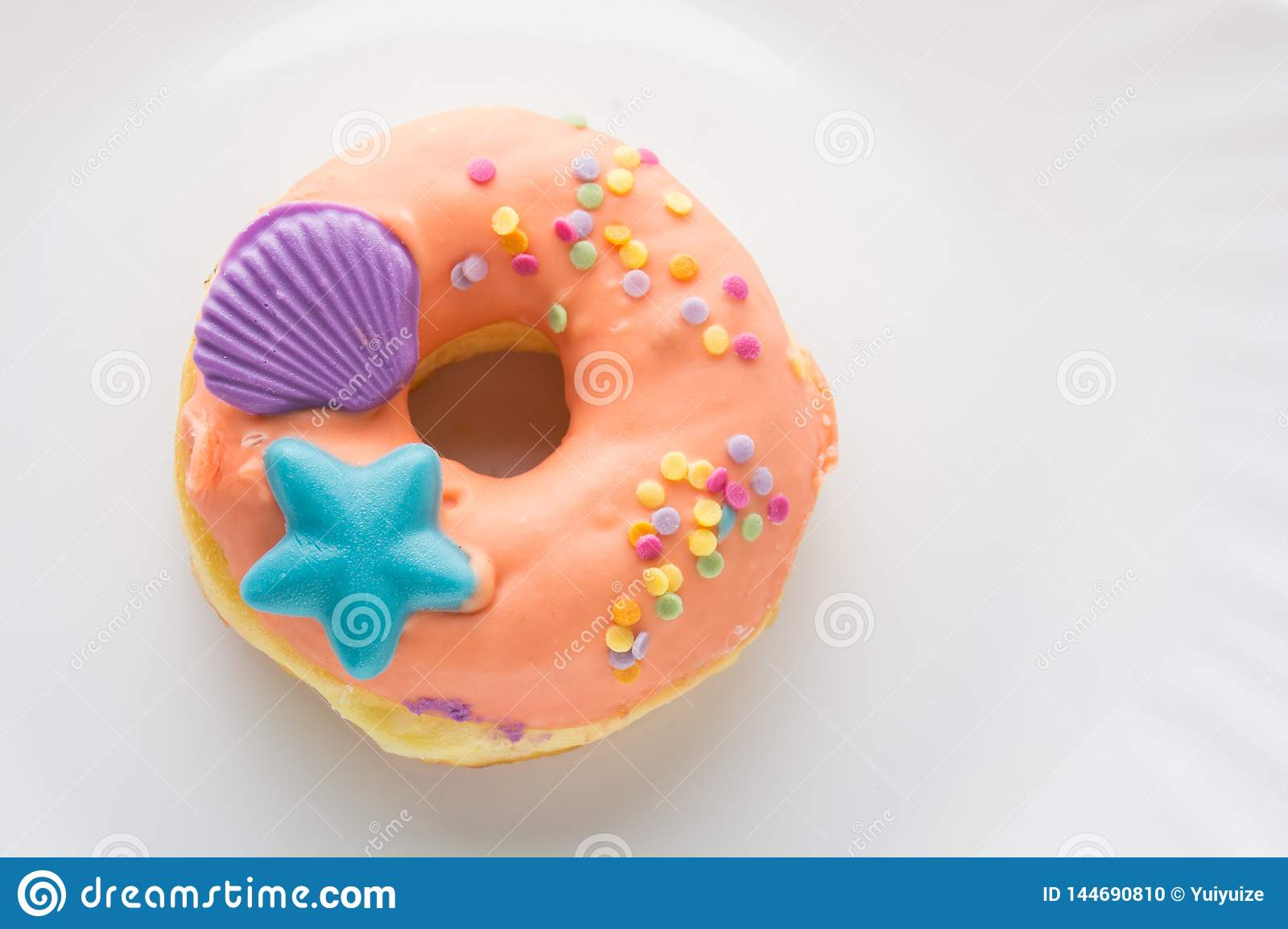 Donut on a white plate