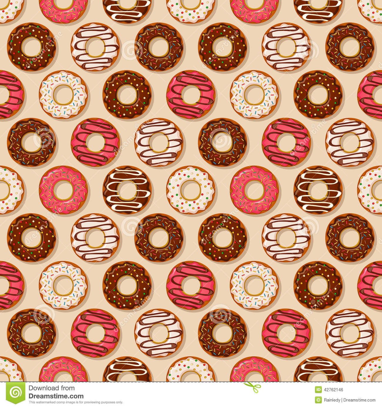 Donuts Background Vector Seamless Pattern Stock Vector