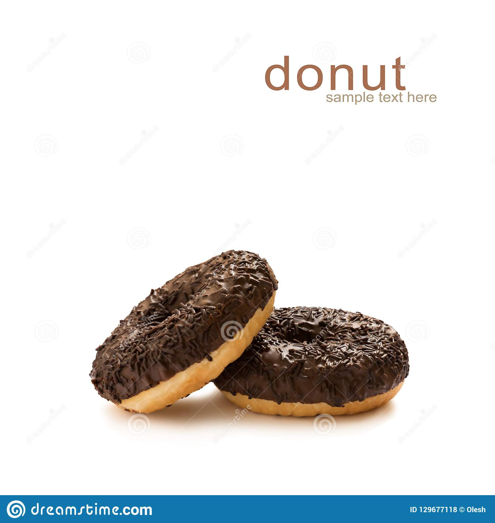 Donuts in chocolate glazed with chocolate chips isolated on the white background, seamless pattern, top view, flat lay