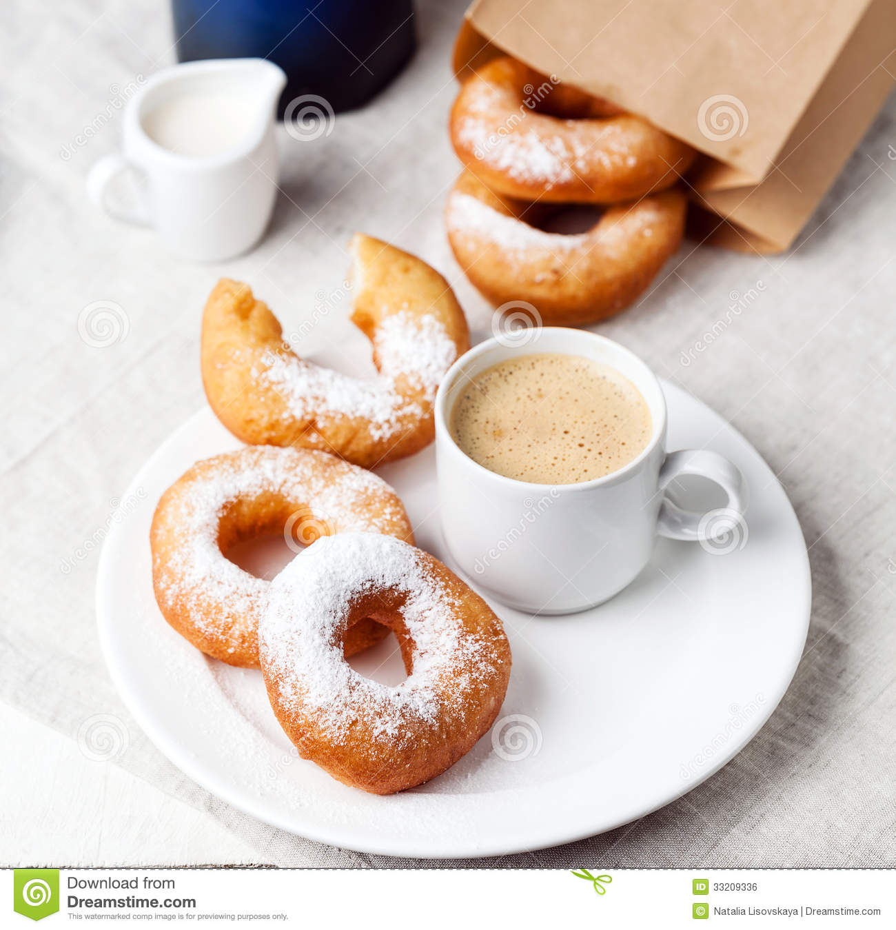 Donuts And Coffee Royalty Free Stock Image - Image: 33209336