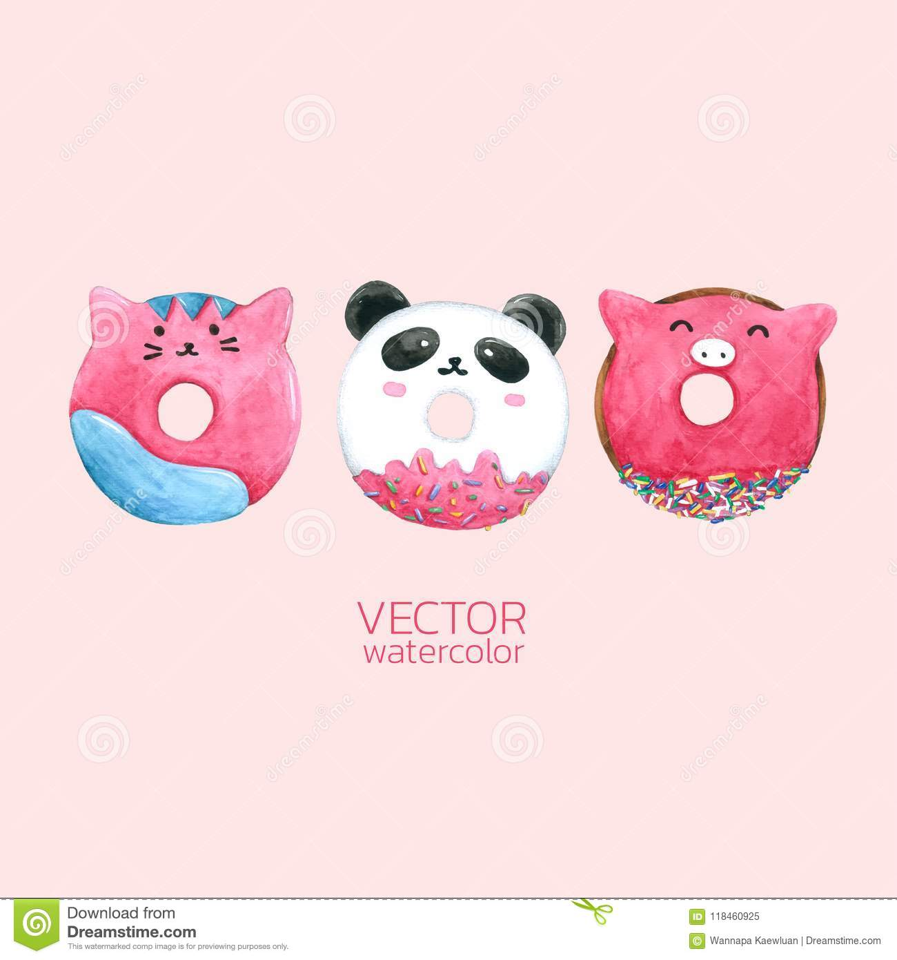 Donuts Cute. Vector watercolor, Hand drawn for Greeting Card, Packaging , Bakery Shop and more