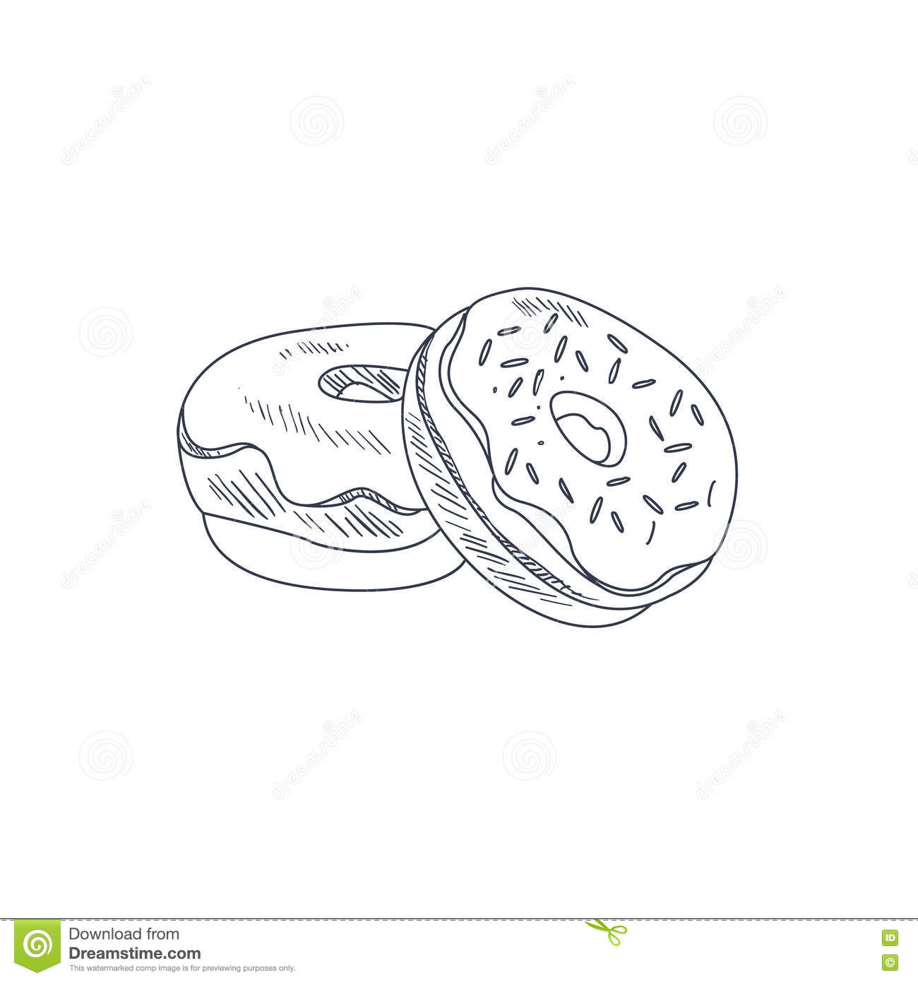Donuts Hand Drawn Sketch Stock Vector - Image: 71314598