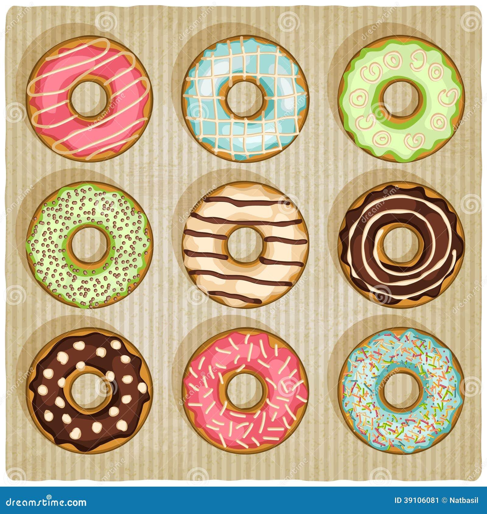 Donuts retro gestreepte achtergrond