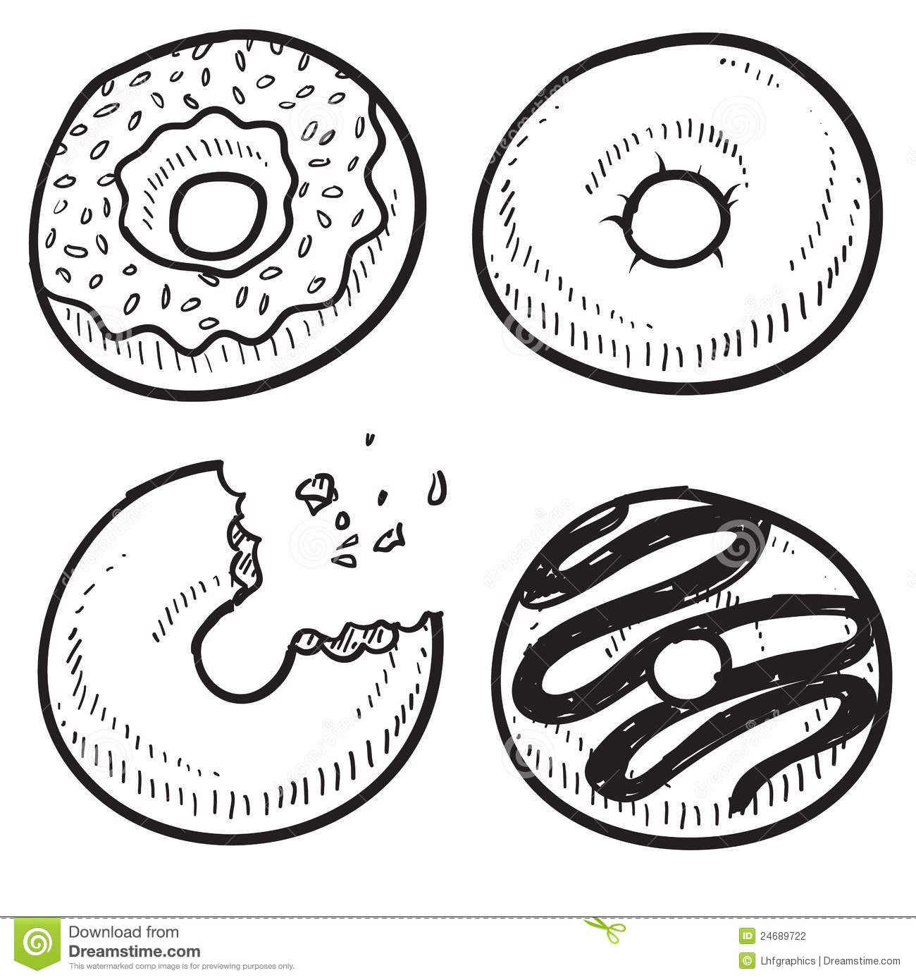 Doodle style donut or doughnut illustration in vector format. Set ...