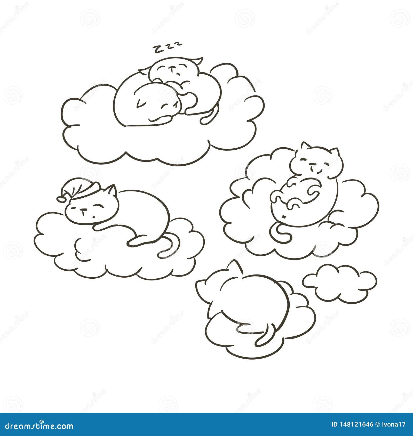 Doodle ślicznego małego kota sletch kolorystyki wektorowa książka marzy chmura sen