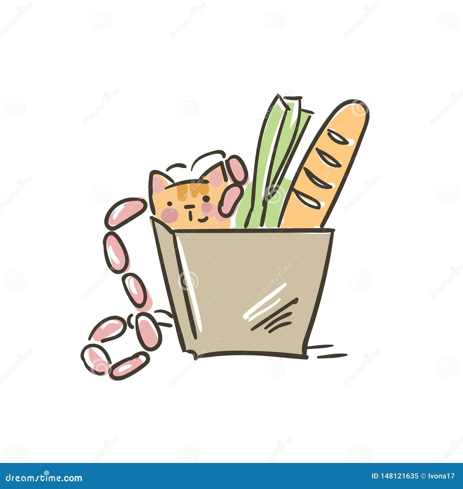 Doodle ślicznego małego kota wektor w papierowej torby jedzeniu