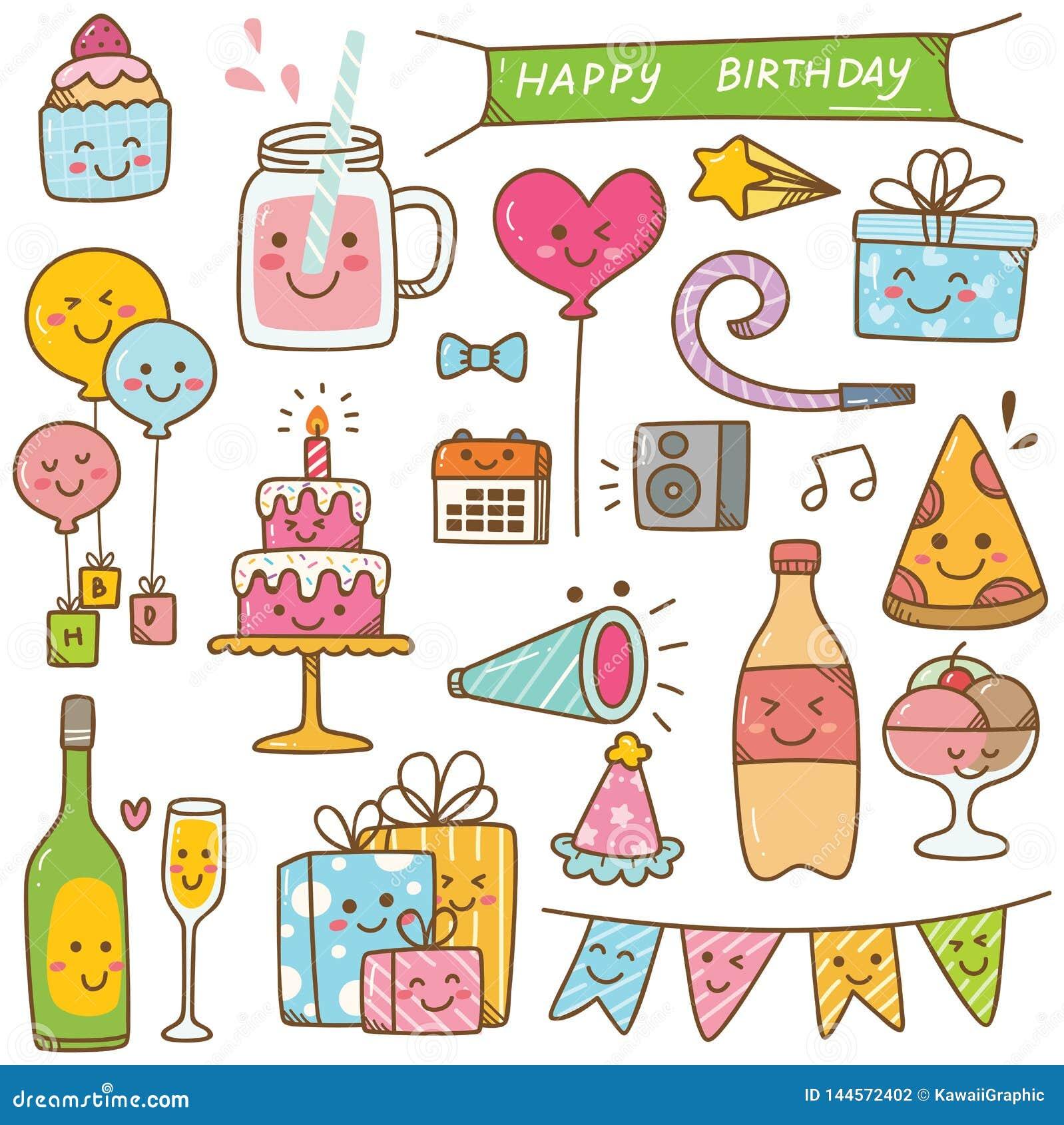 Doodle дня рождения стиля Kawaii изолированный на белой предпосылке