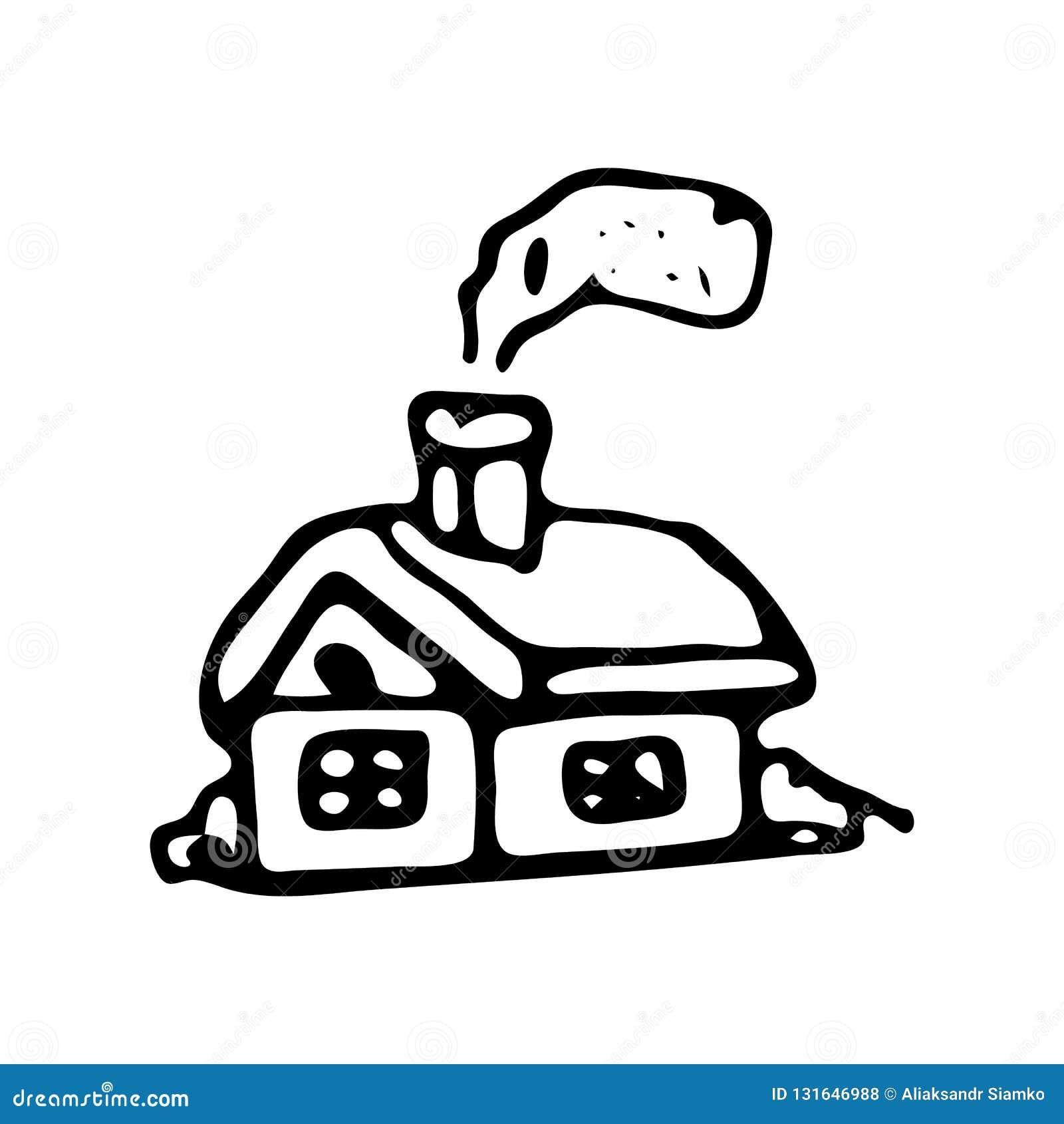 Doodle дома зимы руки вычерченный Значок зимы эскиза Элемент украшения белизна изолированная предпосылкой также вектор иллюстраци